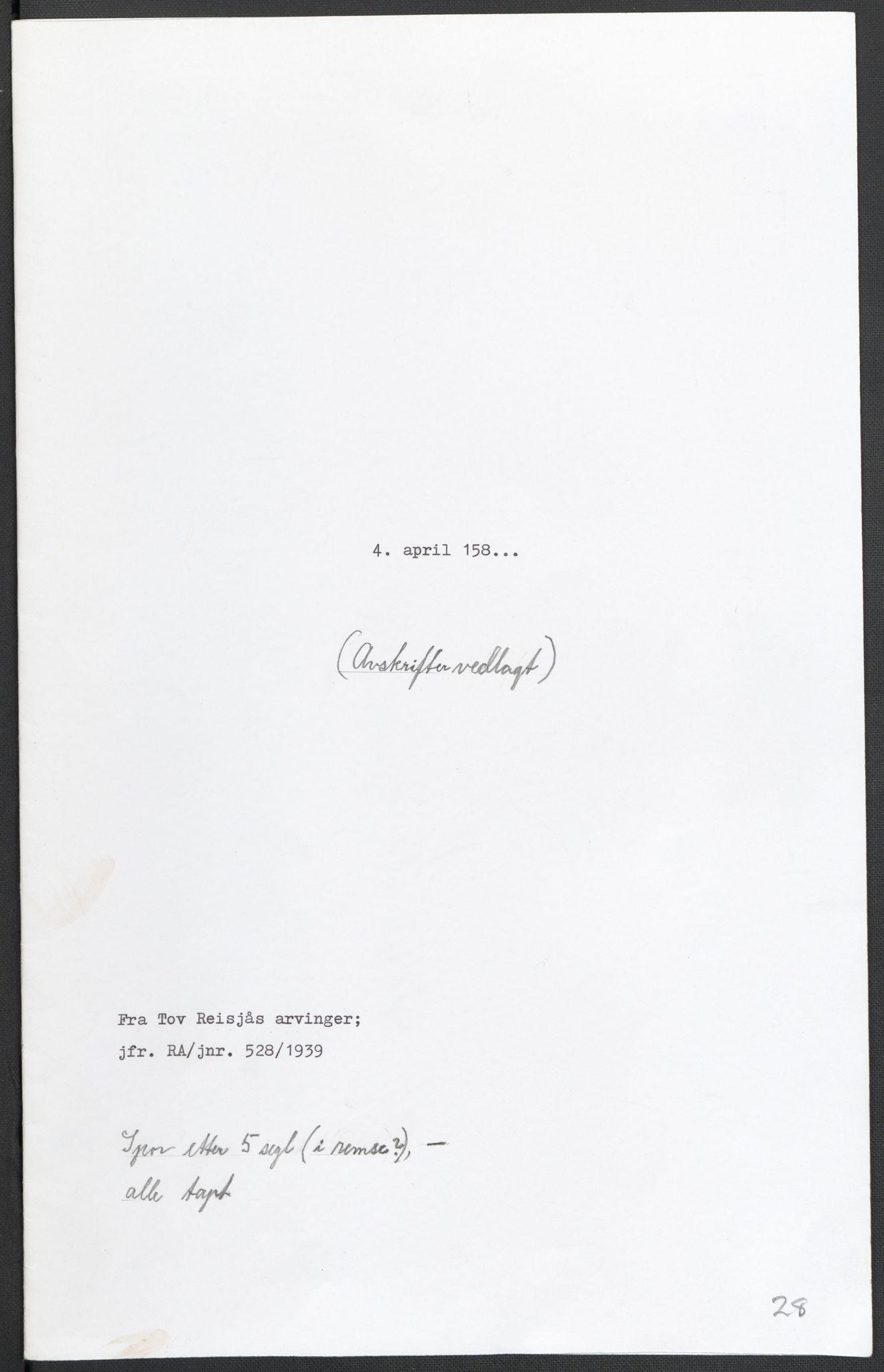 RA, Riksarkivets diplomsamling, F02/L0082: Dokumenter, 1580, s. 75