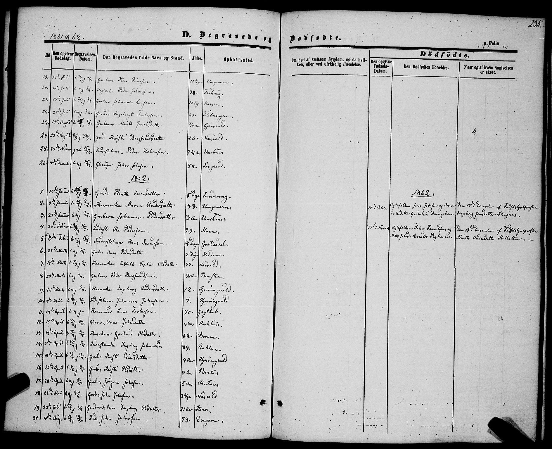SAT, Ministerialprotokoller, klokkerbøker og fødselsregistre - Sør-Trøndelag, 685/L0968: Ministerialbok nr. 685A07 /3, 1860-1869, s. 235