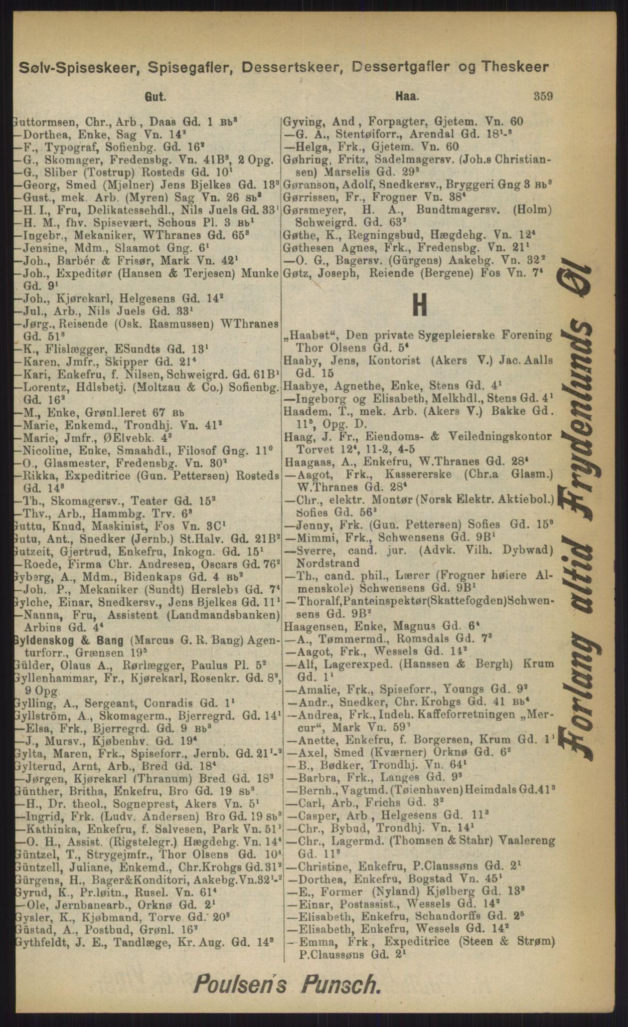 RA, Kristiania adressebok (publikasjon)*, 1903, s. 359