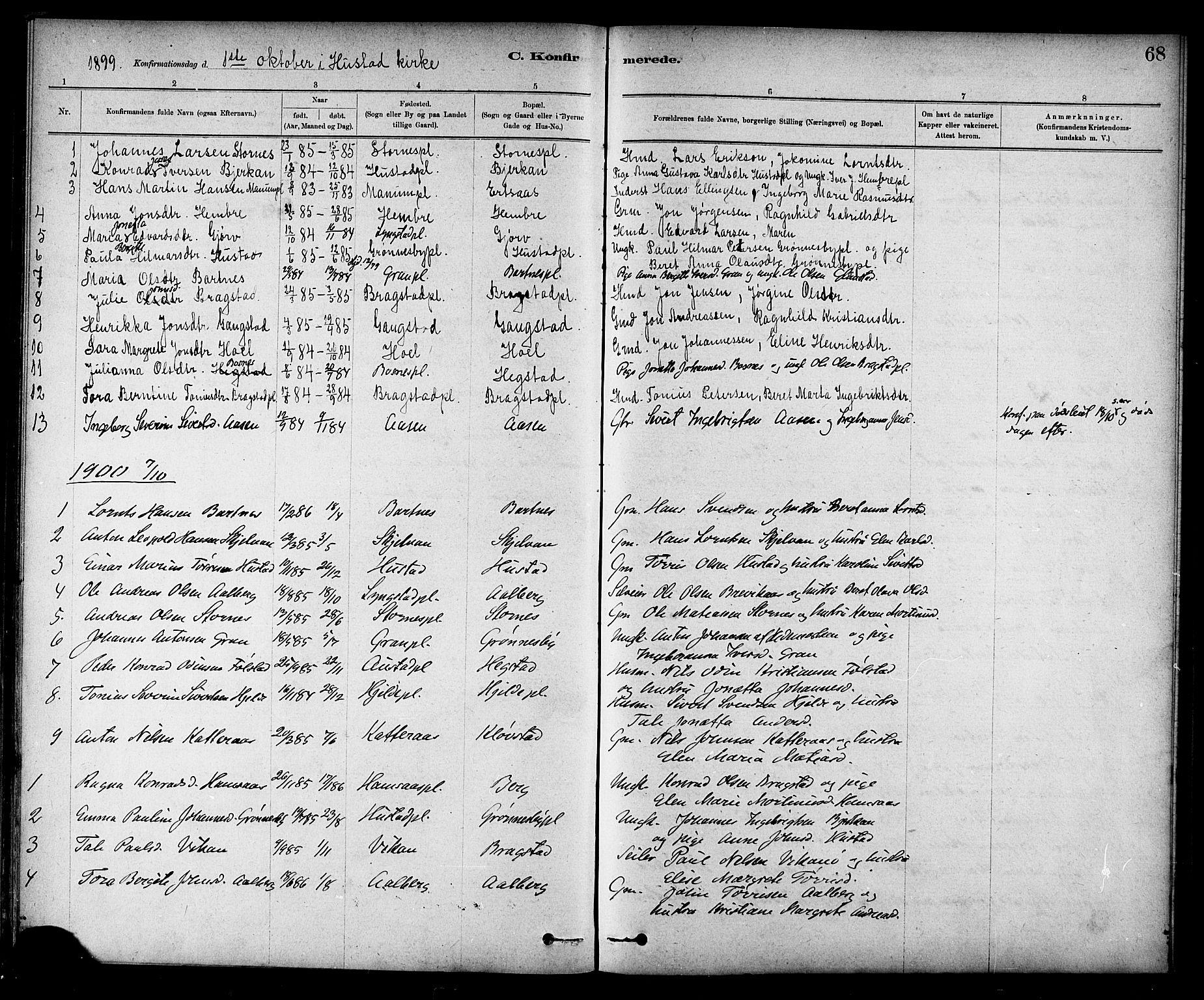 SAT, Ministerialprotokoller, klokkerbøker og fødselsregistre - Nord-Trøndelag, 732/L0318: Klokkerbok nr. 732C02, 1881-1911, s. 68