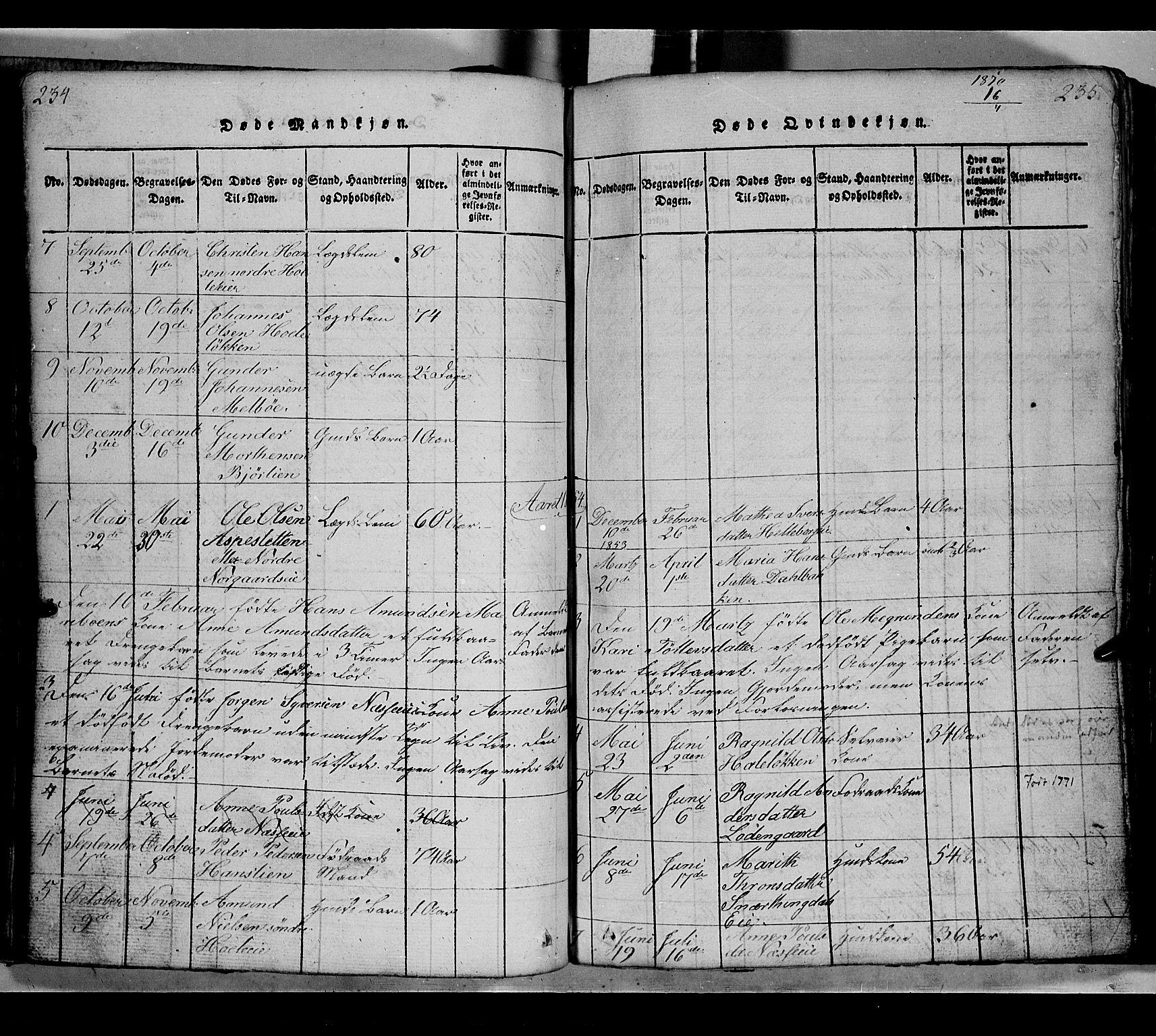 SAH, Gausdal prestekontor, Klokkerbok nr. 2, 1818-1874, s. 234-235