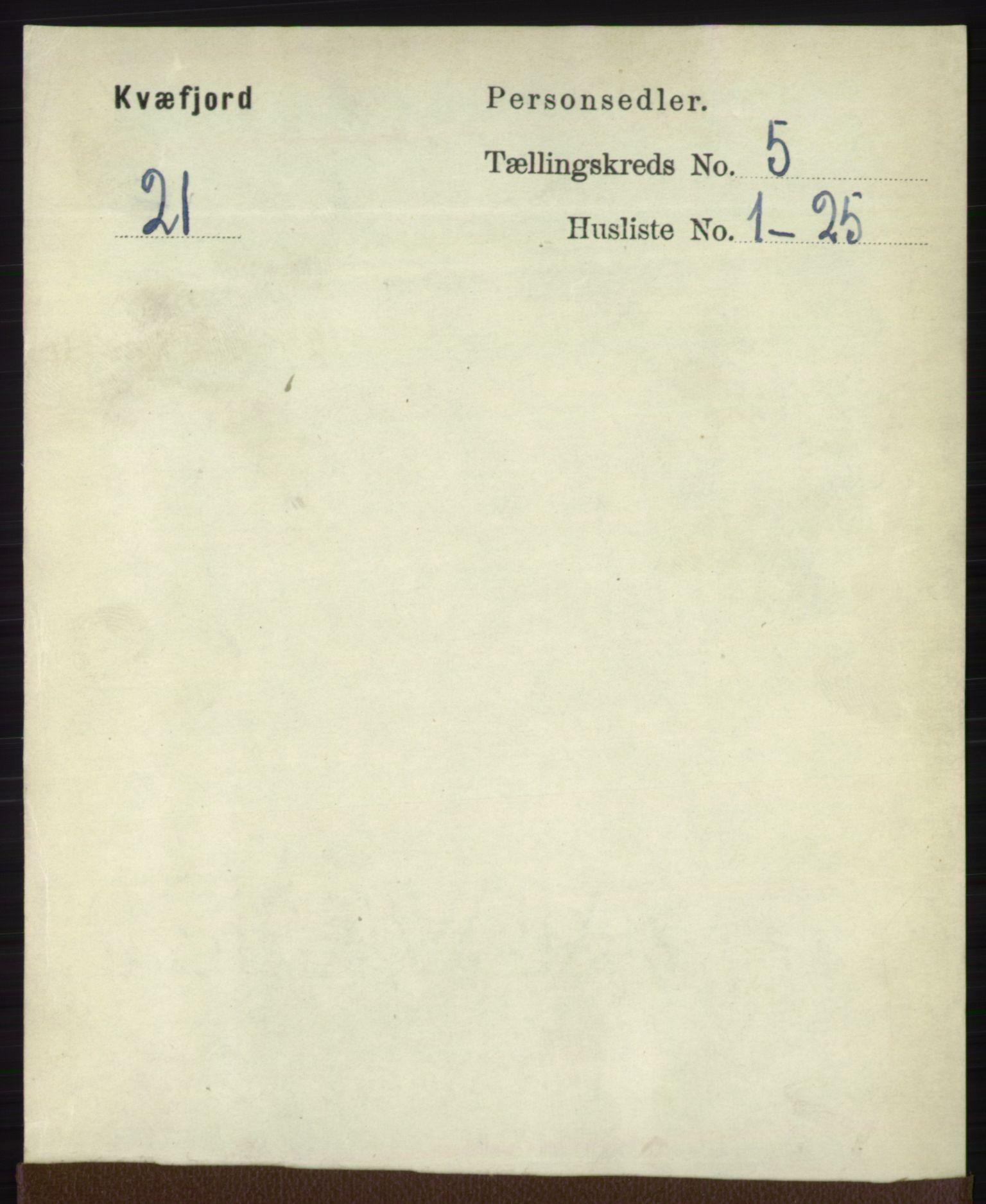 RA, Folketelling 1891 for 1911 Kvæfjord herred, 1891, s. 2869