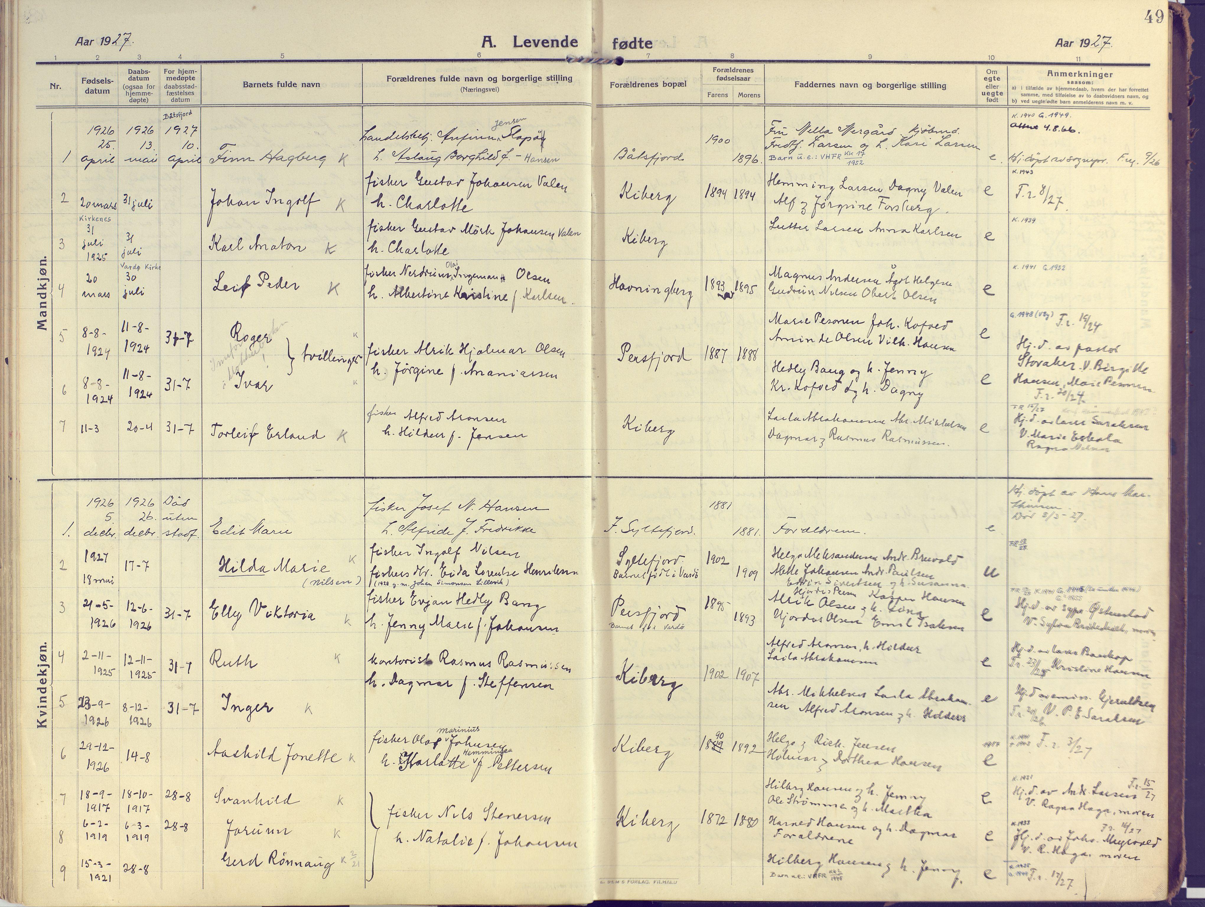 SATØ, Vardø sokneprestkontor, H/Ha/L0013kirke: Ministerialbok nr. 13, 1912-1928, s. 49