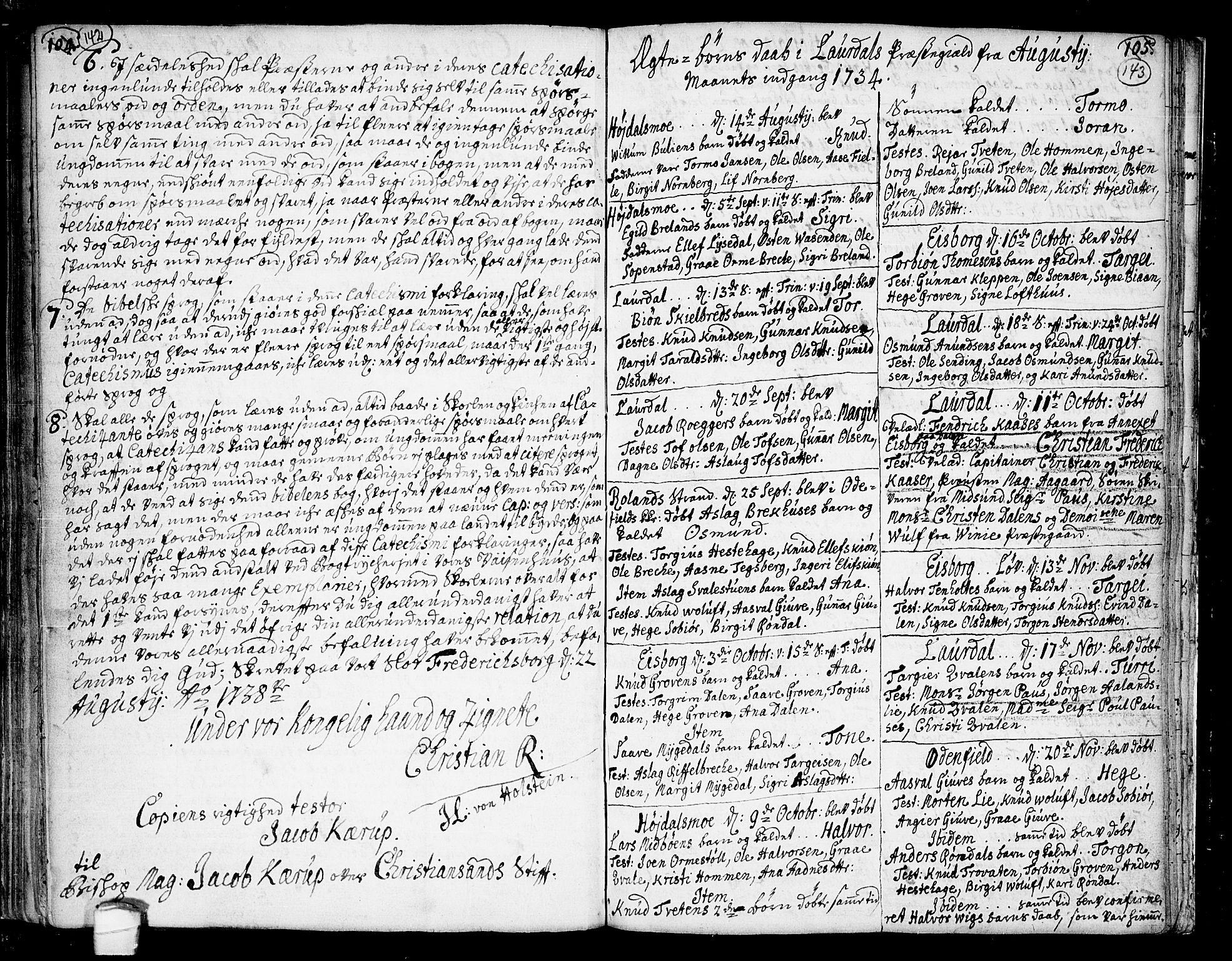 SAKO, Lårdal kirkebøker, F/Fa/L0002: Ministerialbok nr. I 2, 1734-1754, s. 142-143
