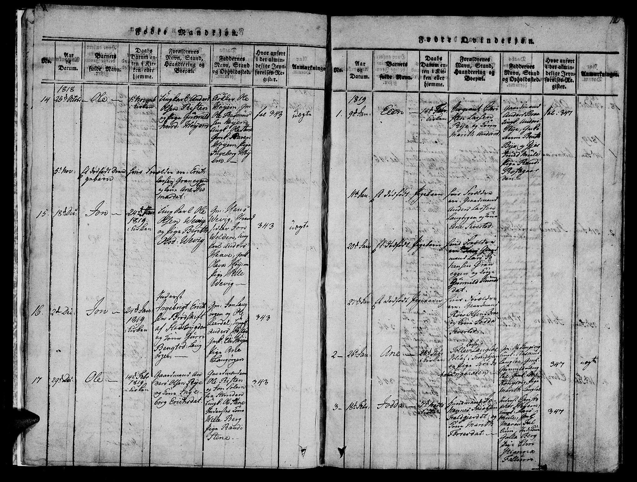 SAT, Ministerialprotokoller, klokkerbøker og fødselsregistre - Sør-Trøndelag, 612/L0372: Ministerialbok nr. 612A06 /1, 1816-1828, s. 12
