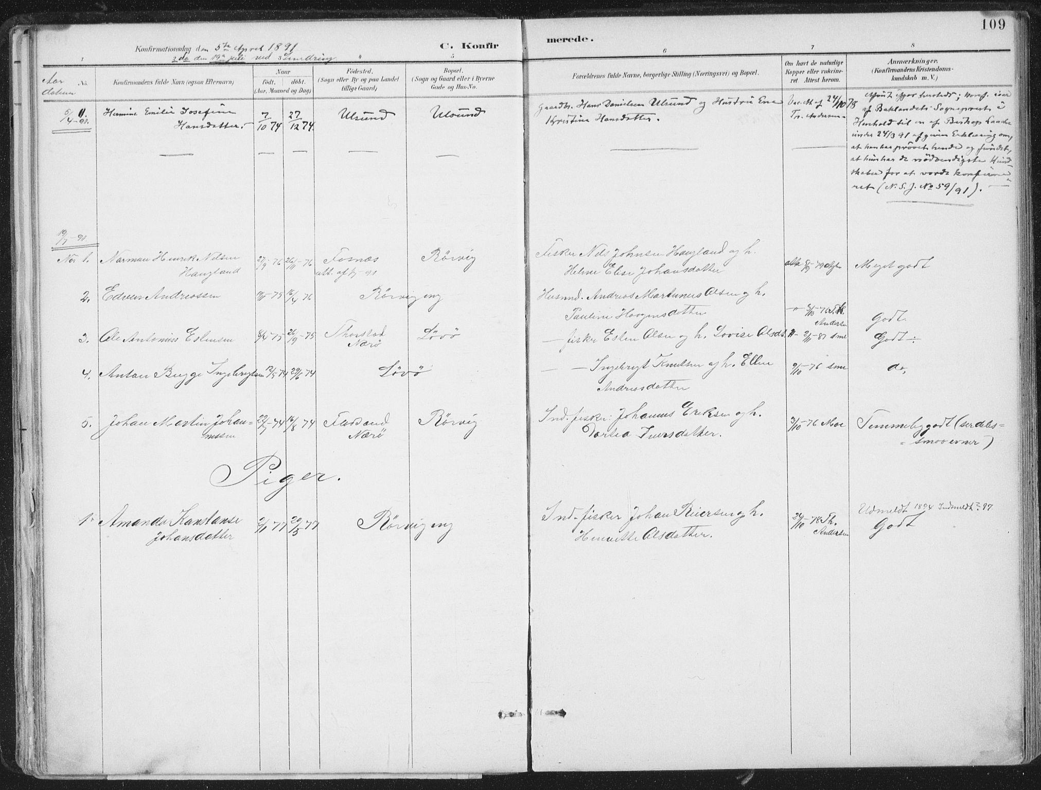 SAT, Ministerialprotokoller, klokkerbøker og fødselsregistre - Nord-Trøndelag, 786/L0687: Ministerialbok nr. 786A03, 1888-1898, s. 109