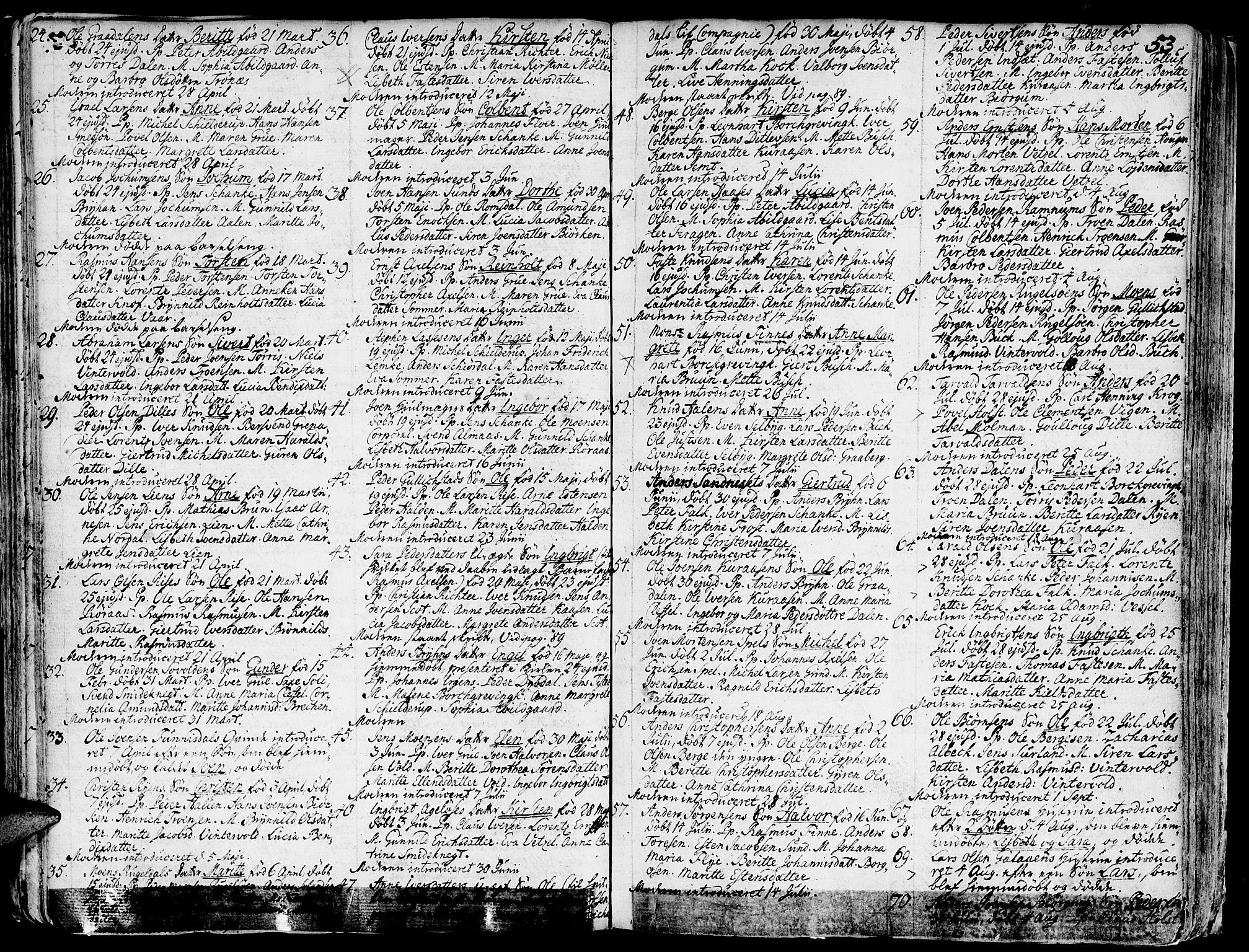 SAT, Ministerialprotokoller, klokkerbøker og fødselsregistre - Sør-Trøndelag, 681/L0925: Ministerialbok nr. 681A03, 1727-1766, s. 53