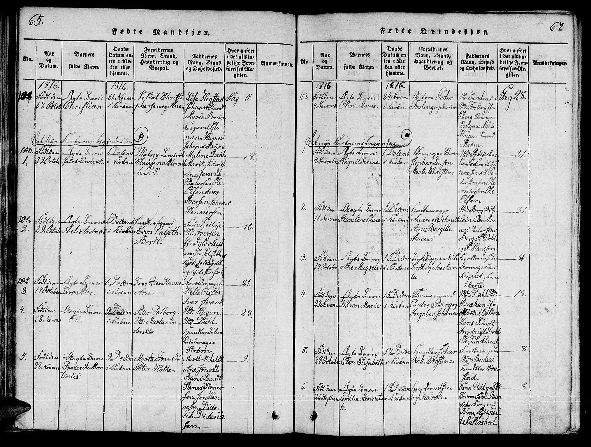 SAT, Ministerialprotokoller, klokkerbøker og fødselsregistre - Sør-Trøndelag, 601/L0043: Ministerialbok nr. 601A11, 1815-1821, s. 65-67