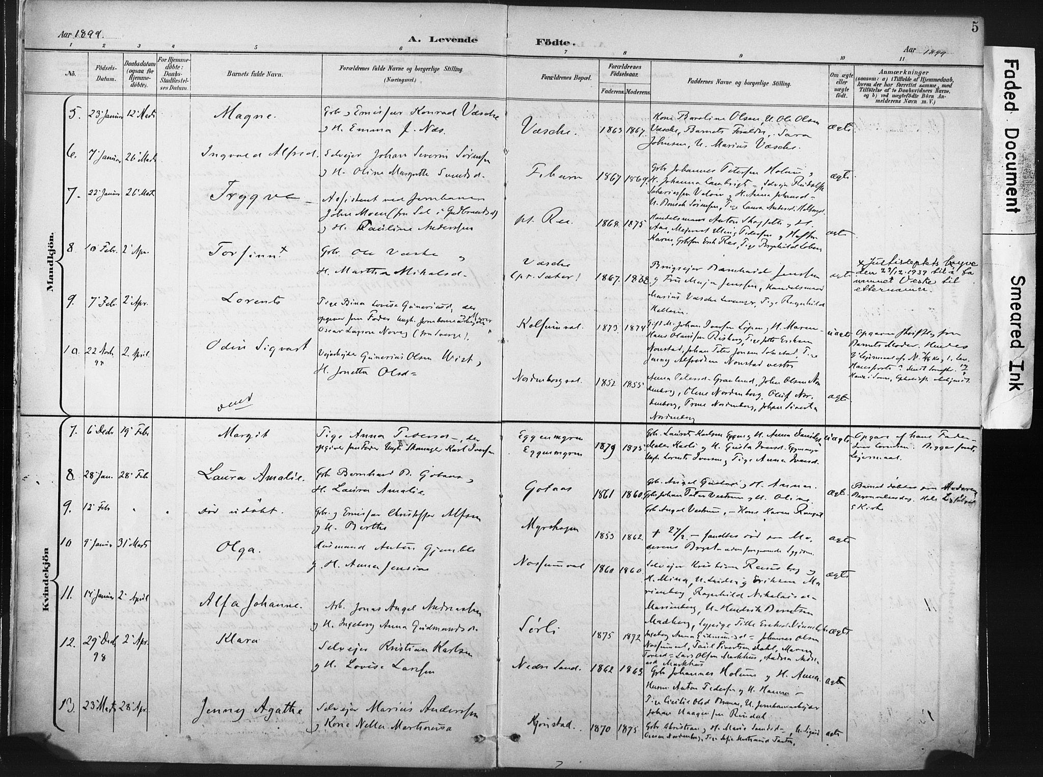 SAT, Ministerialprotokoller, klokkerbøker og fødselsregistre - Nord-Trøndelag, 717/L0162: Ministerialbok nr. 717A12, 1898-1923, s. 5
