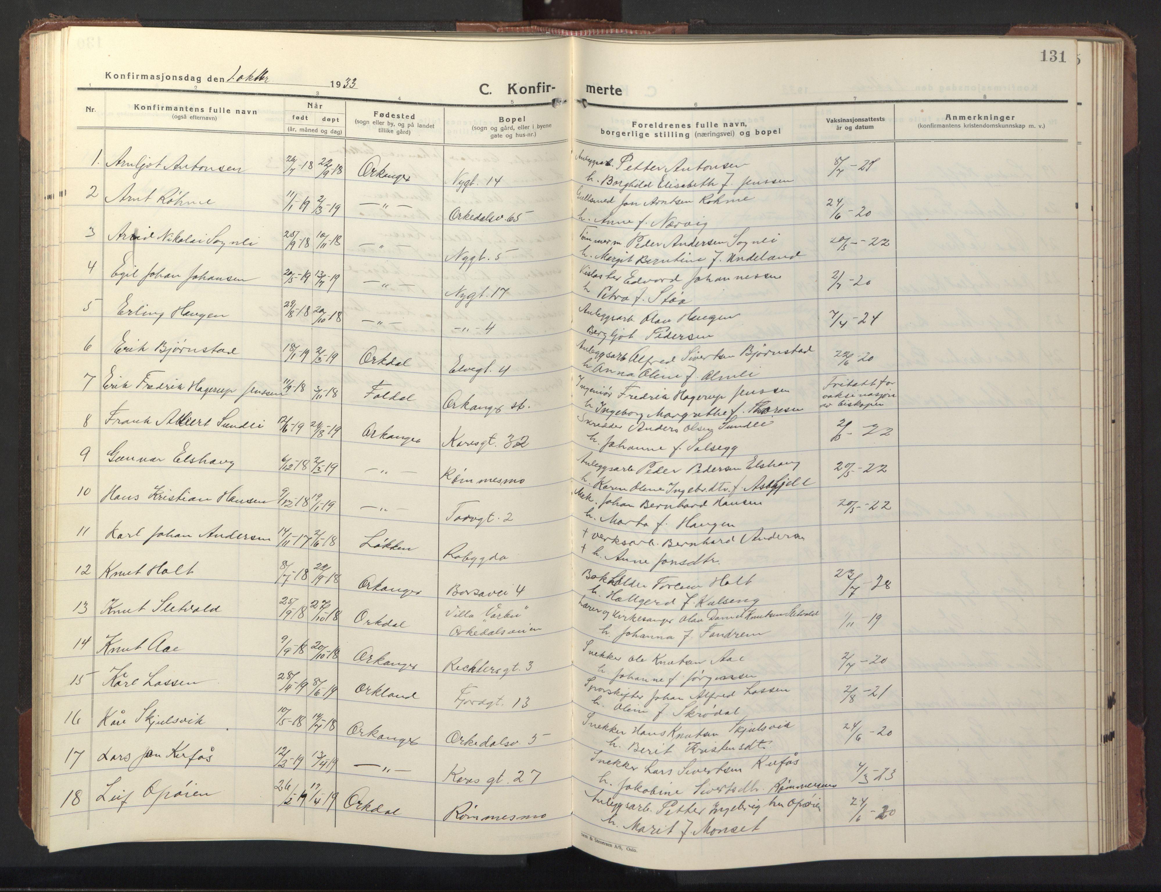 SAT, Ministerialprotokoller, klokkerbøker og fødselsregistre - Sør-Trøndelag, 669/L0832: Klokkerbok nr. 669C02, 1925-1953, s. 131