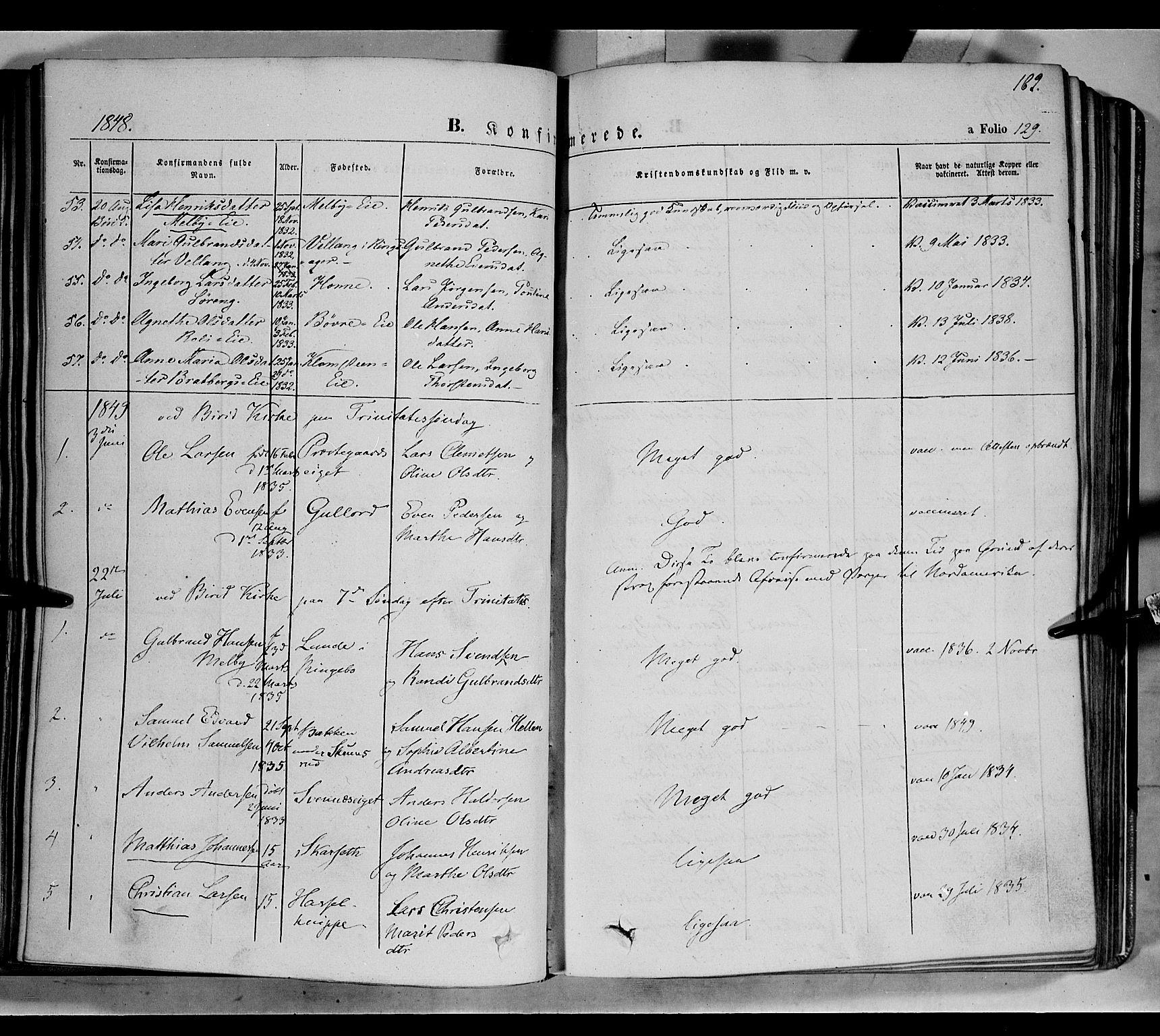 SAH, Biri prestekontor, Ministerialbok nr. 5, 1843-1854, s. 162