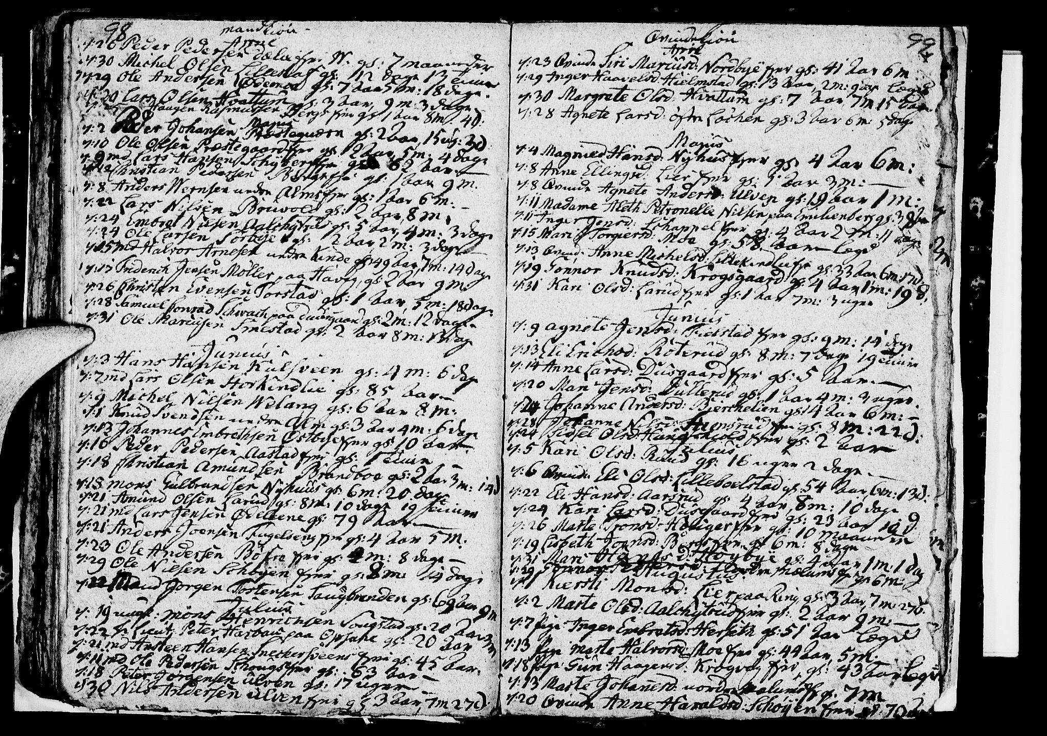 SAH, Ringsaker prestekontor, I/Ia/L0005/0005: Kladd til kirkebok nr. 1E, 1790-1792, s. 98-99
