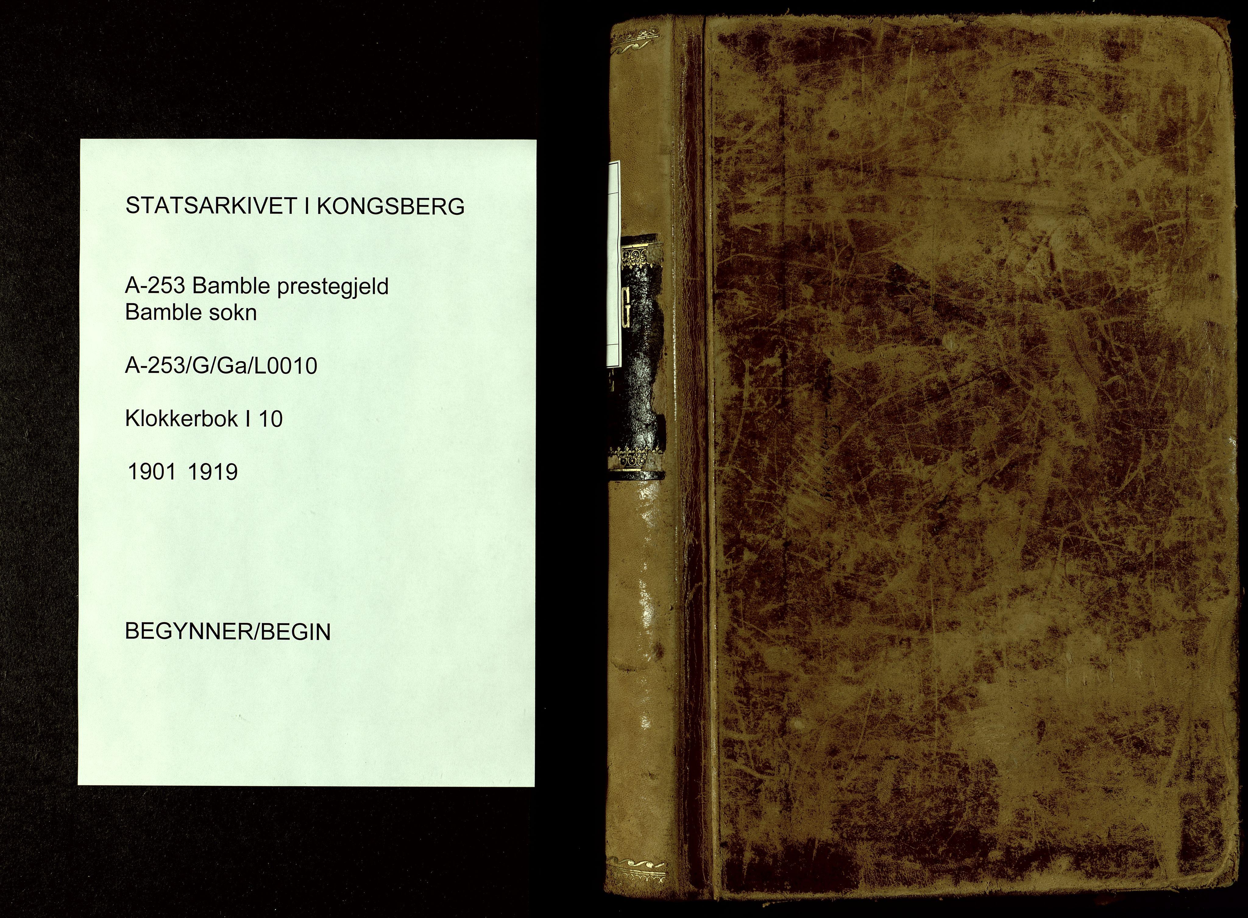 SAKO, Bamble kirkebøker, G/Ga/L0010: Klokkerbok nr. I 10, 1901-1919