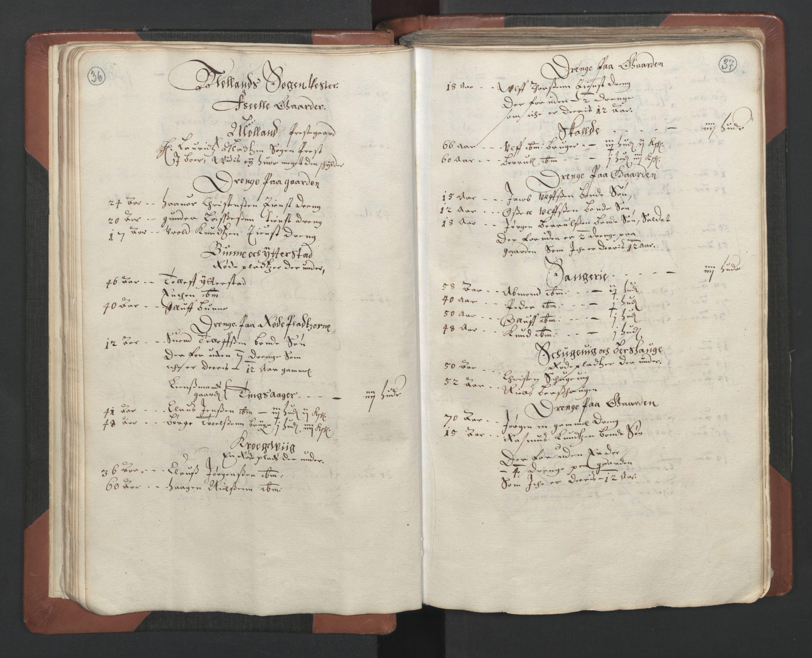 RA, Fogdenes og sorenskrivernes manntall 1664-1666, nr. 7: Nedenes fogderi, 1664-1666, s. 36-37