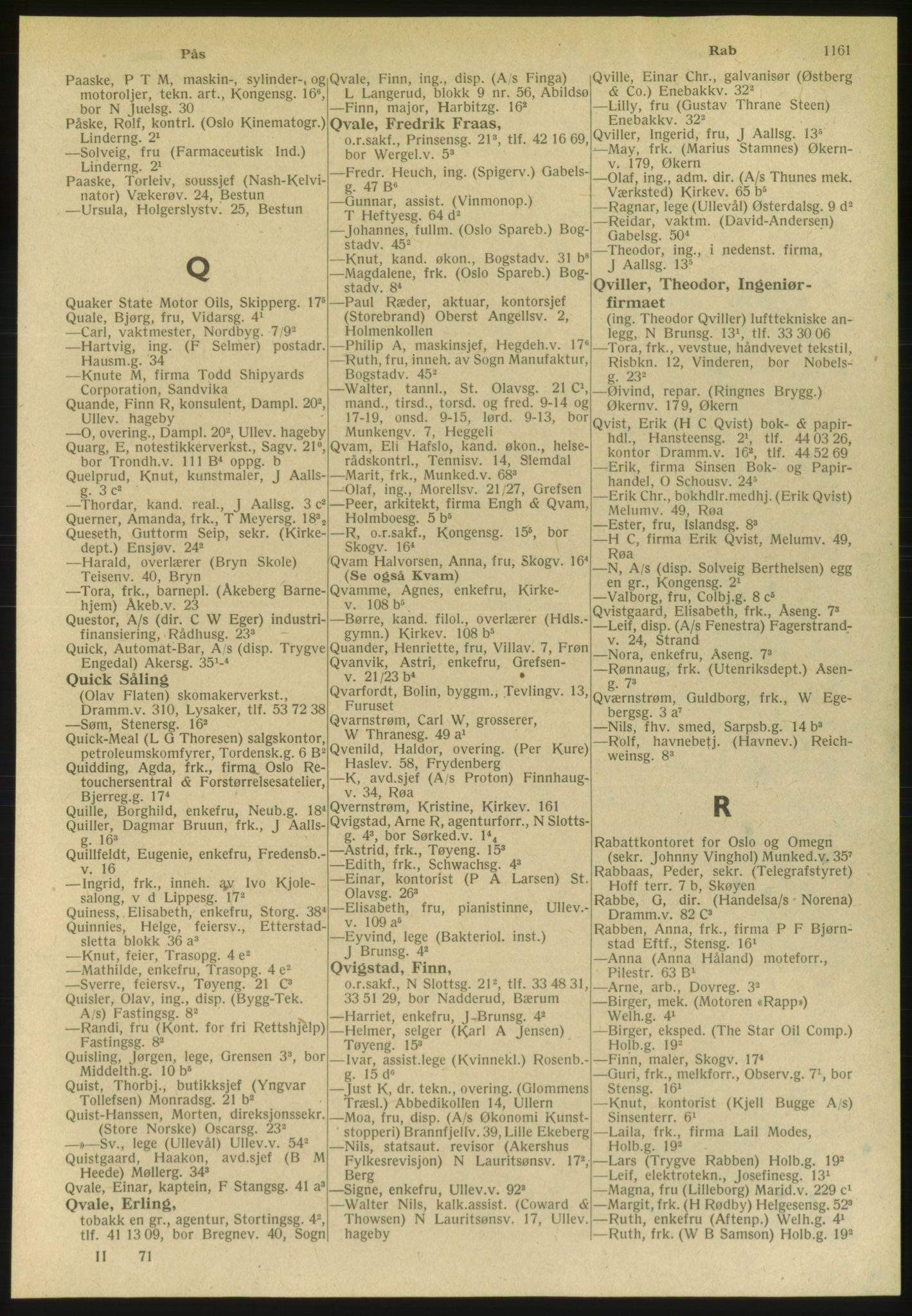 PUBL, Kristiania/Oslo adressebok, 1951, s. 1161