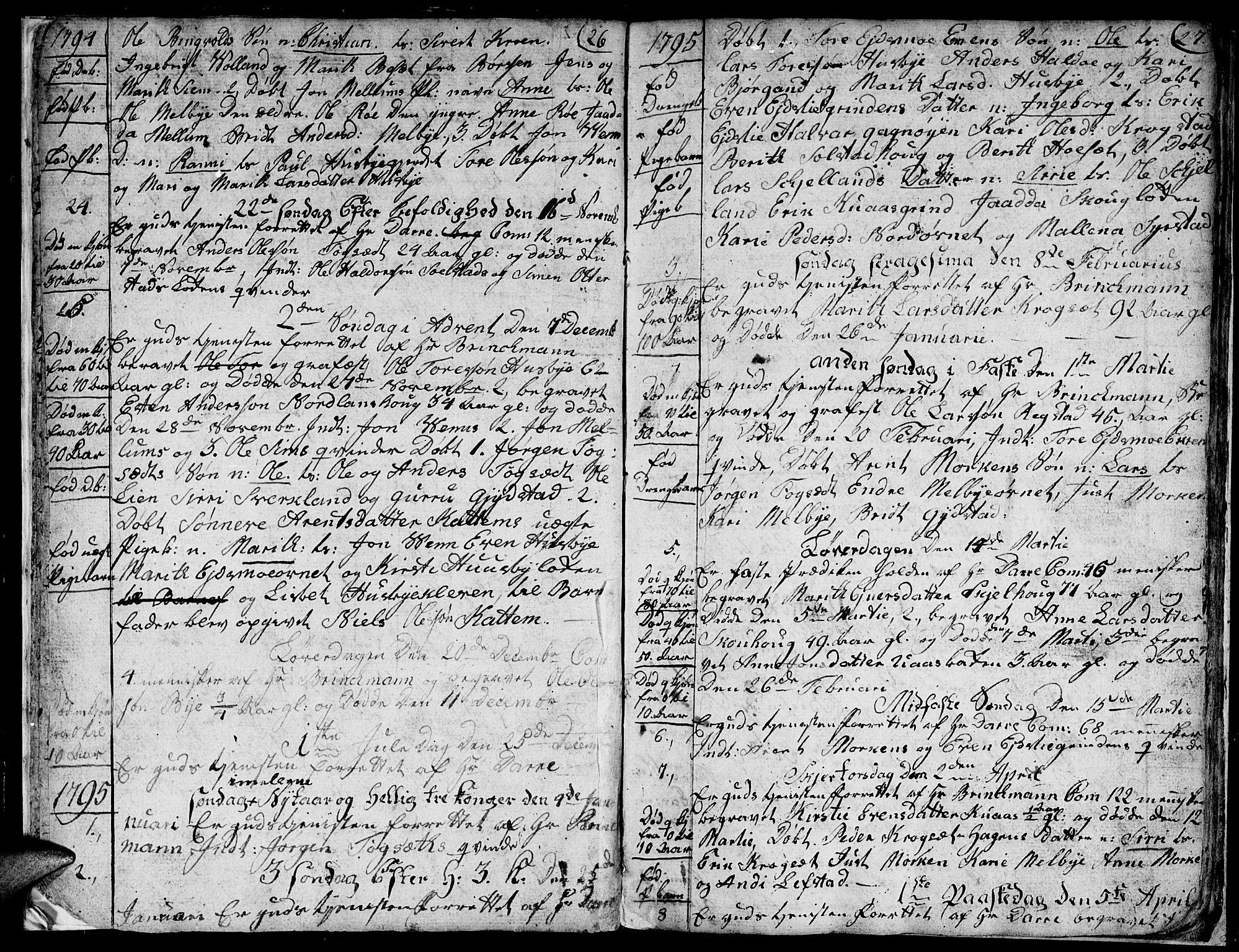 SAT, Ministerialprotokoller, klokkerbøker og fødselsregistre - Sør-Trøndelag, 667/L0794: Ministerialbok nr. 667A02, 1791-1816, s. 26-27