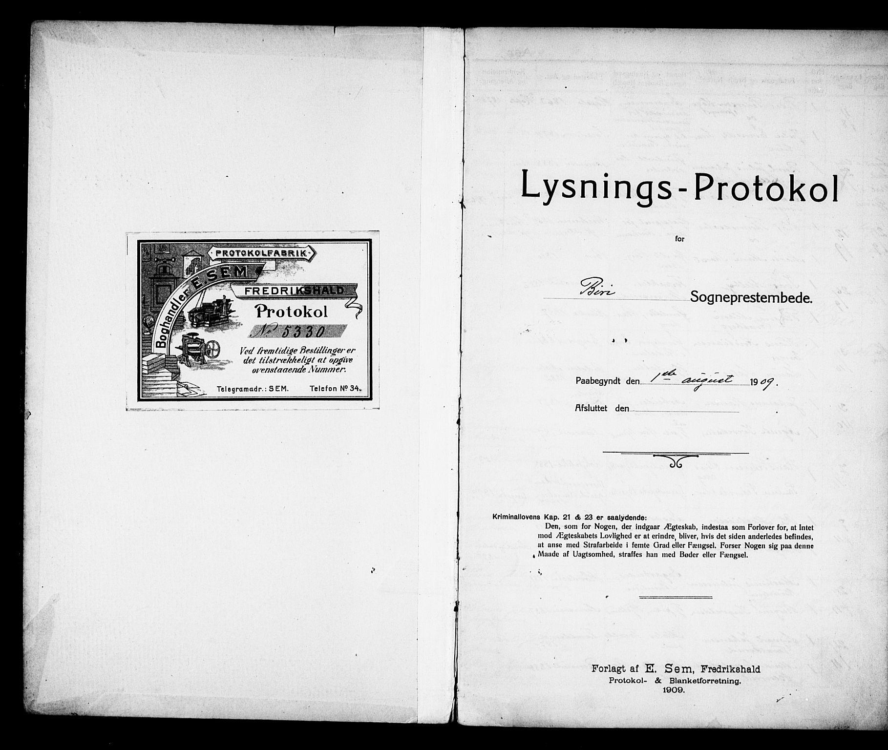 SAH, Biri prestekontor, Lysningsprotokoll nr. 6, 1909-1921