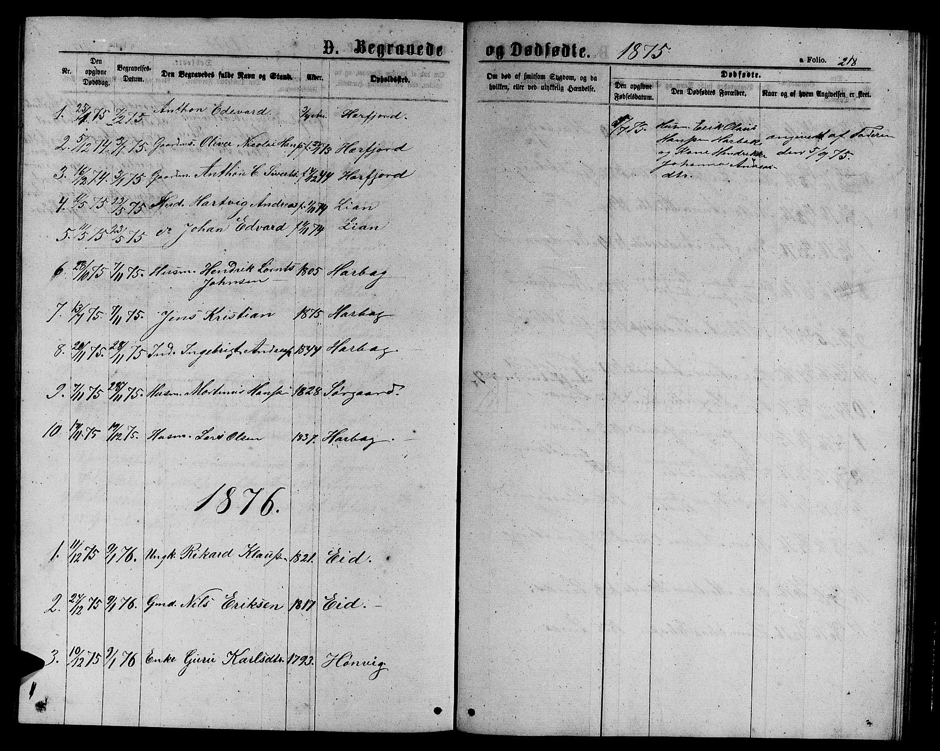 SAT, Ministerialprotokoller, klokkerbøker og fødselsregistre - Sør-Trøndelag, 656/L0695: Klokkerbok nr. 656C01, 1867-1889, s. 218