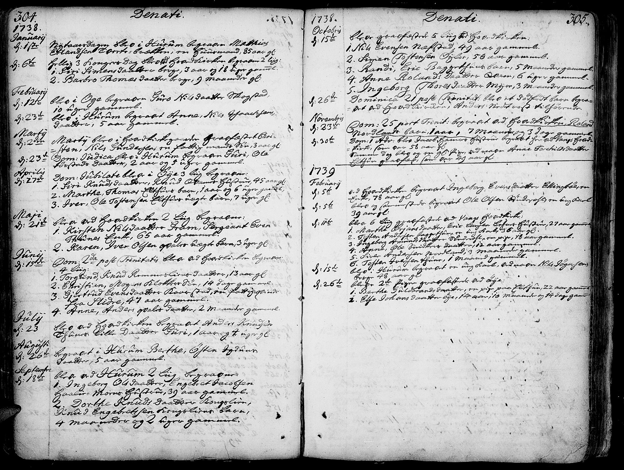 SAH, Vang prestekontor, Valdres, Ministerialbok nr. 1, 1730-1796, s. 304-305