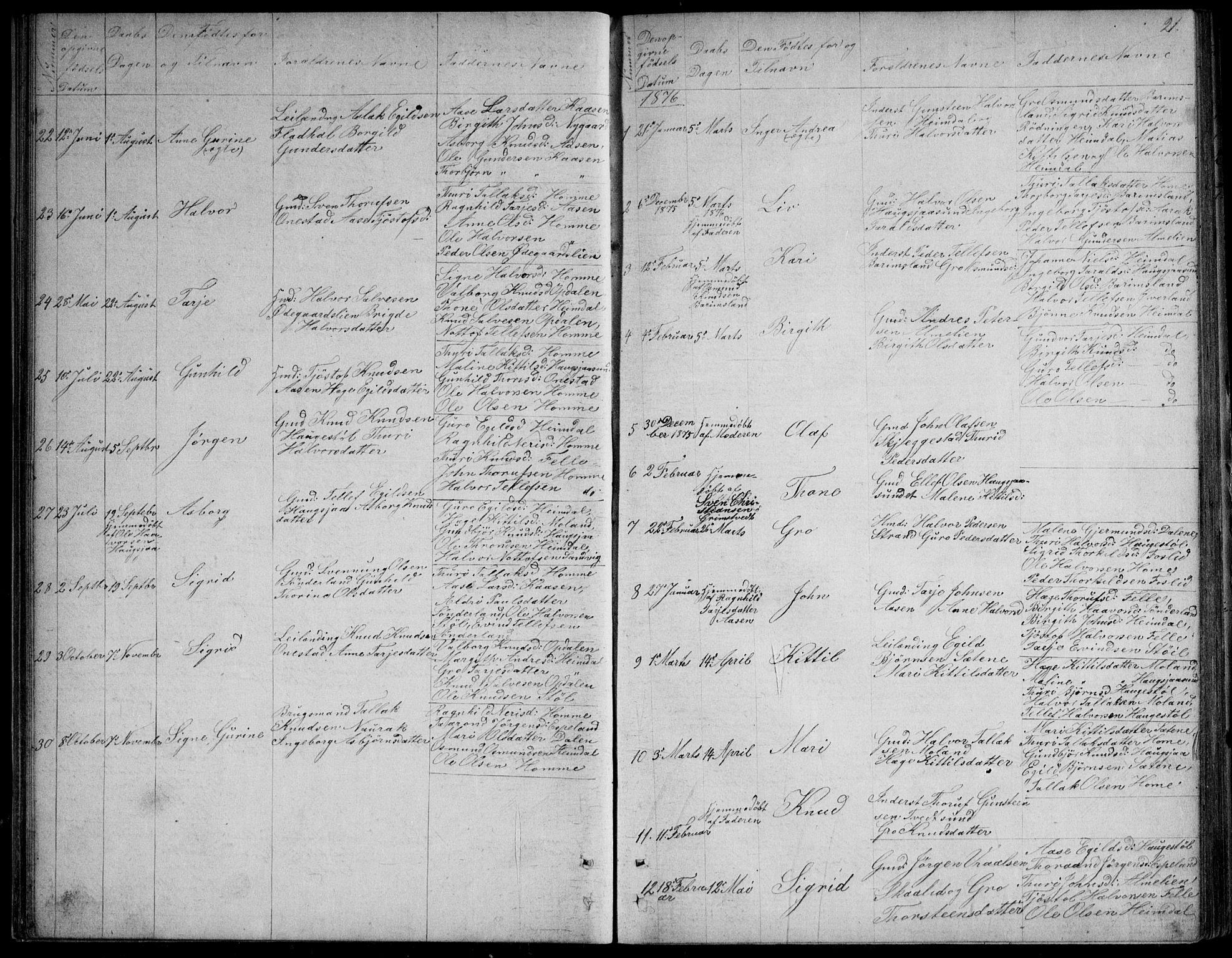SAKO, Nissedal kirkebøker, G/Gb/L0002: Klokkerbok nr. II 2, 1863-1892, s. 21