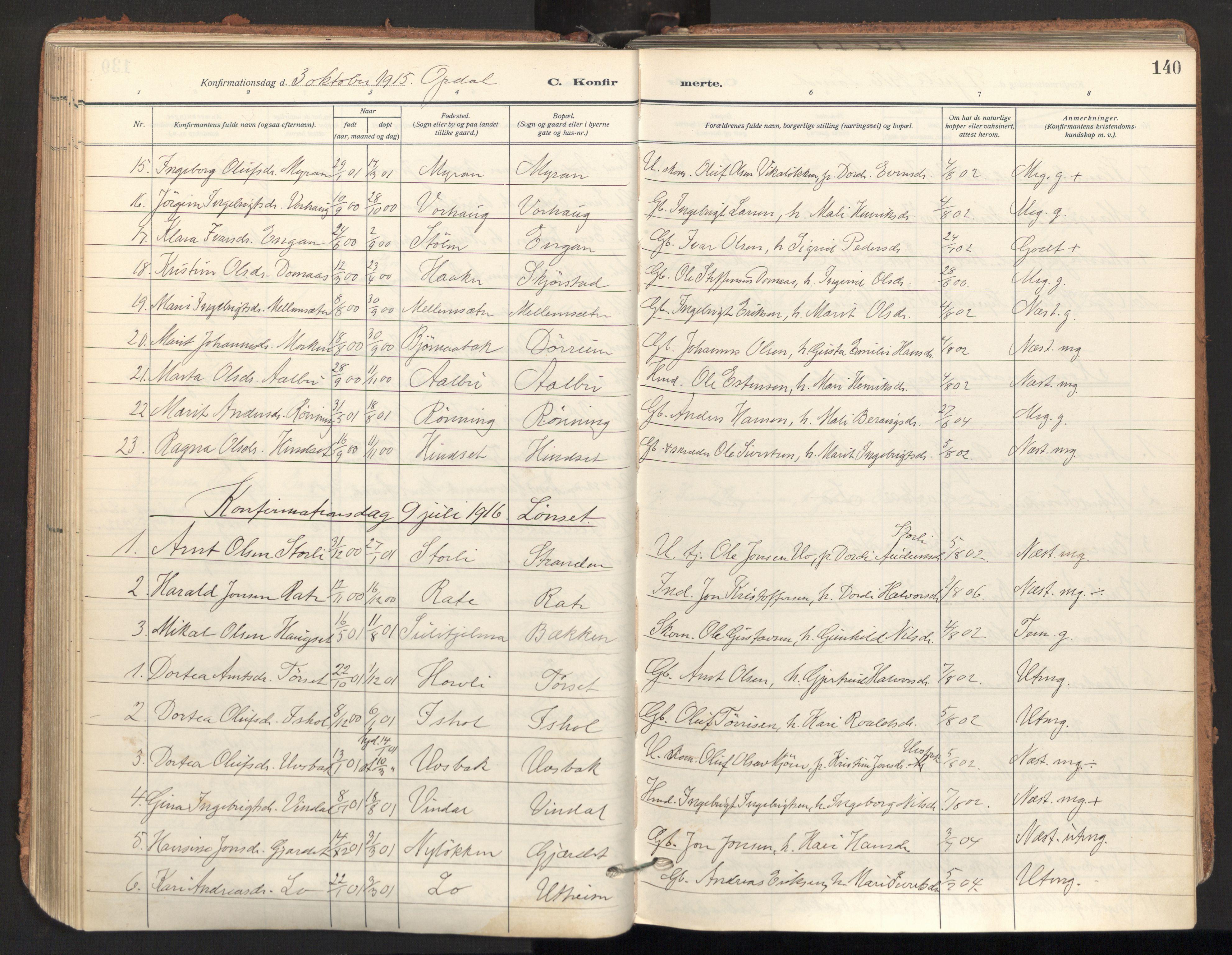 SAT, Ministerialprotokoller, klokkerbøker og fødselsregistre - Sør-Trøndelag, 678/L0909: Ministerialbok nr. 678A17, 1912-1930, s. 140
