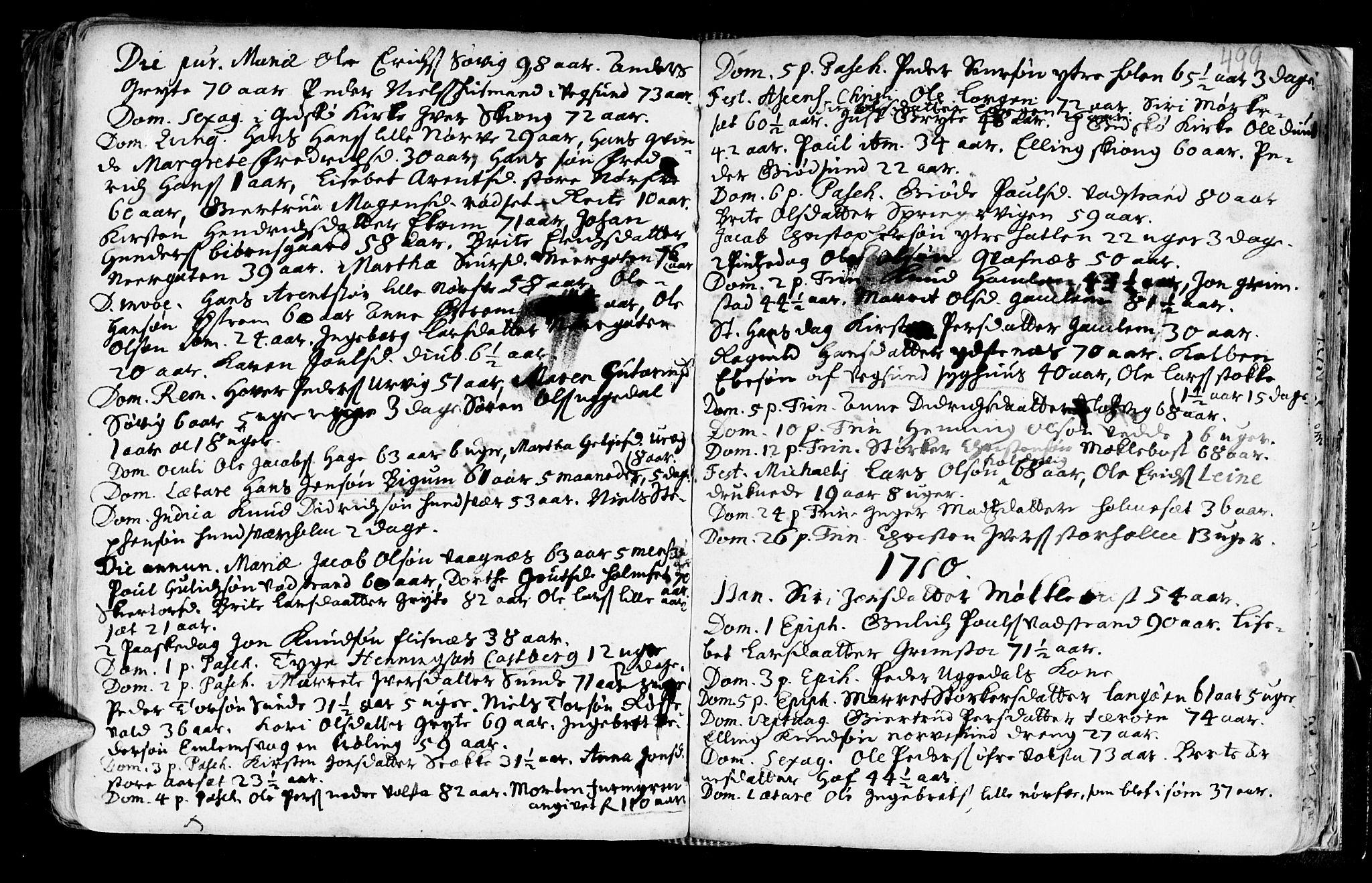 SAT, Ministerialprotokoller, klokkerbøker og fødselsregistre - Møre og Romsdal, 528/L0390: Ministerialbok nr. 528A01, 1698-1739, s. 498-499