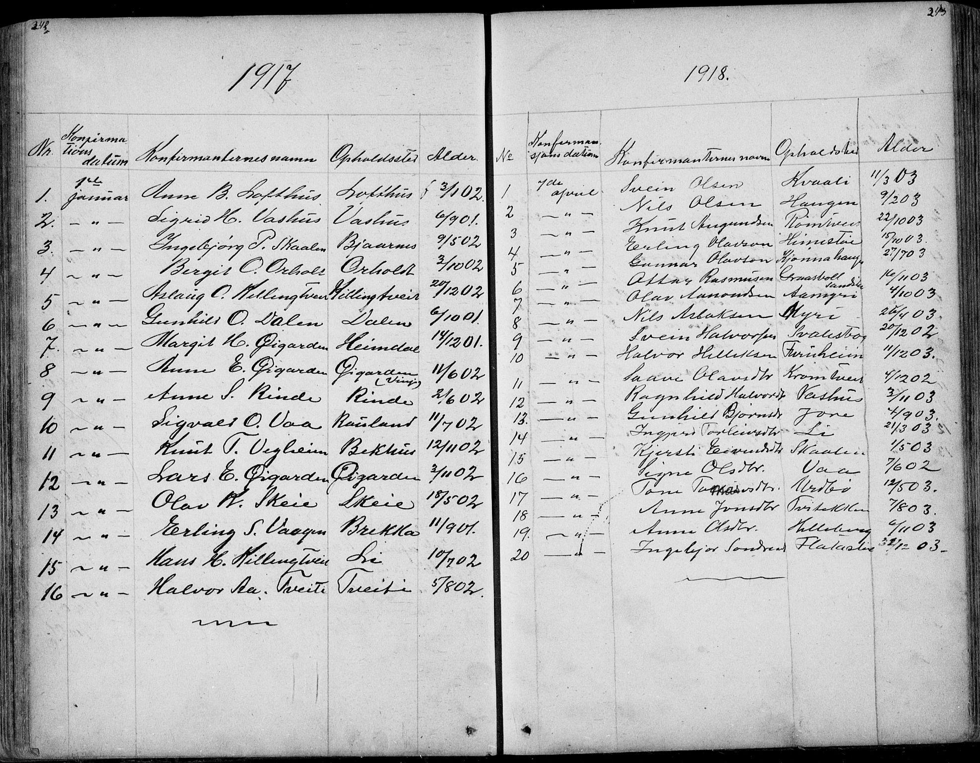 SAKO, Rauland kirkebøker, G/Ga/L0002: Klokkerbok nr. I 2, 1849-1935, s. 242-243