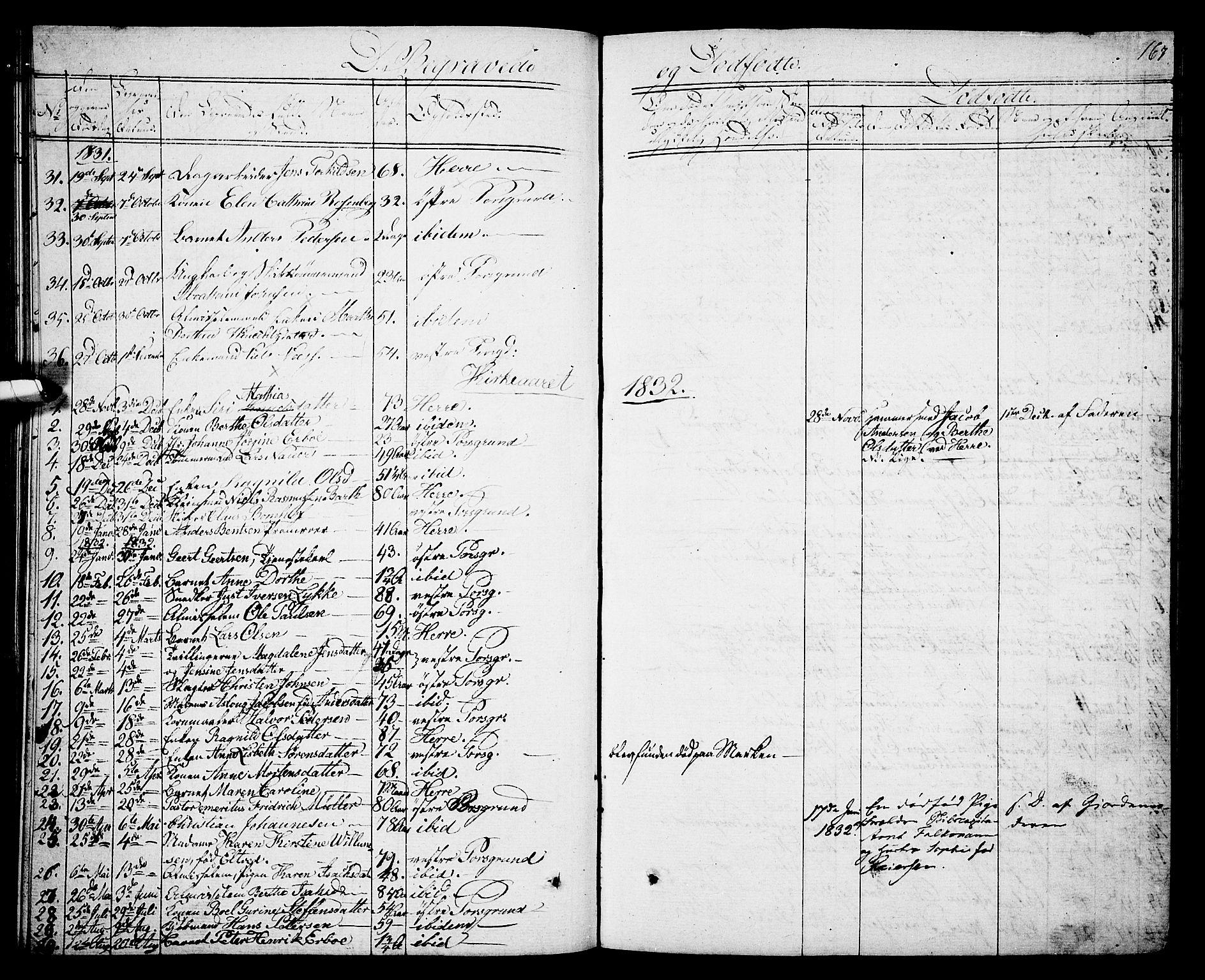 SAKO, Porsgrunn kirkebøker , G/Gb/L0002: Klokkerbok nr. II 2, 1828-1841, s. 167