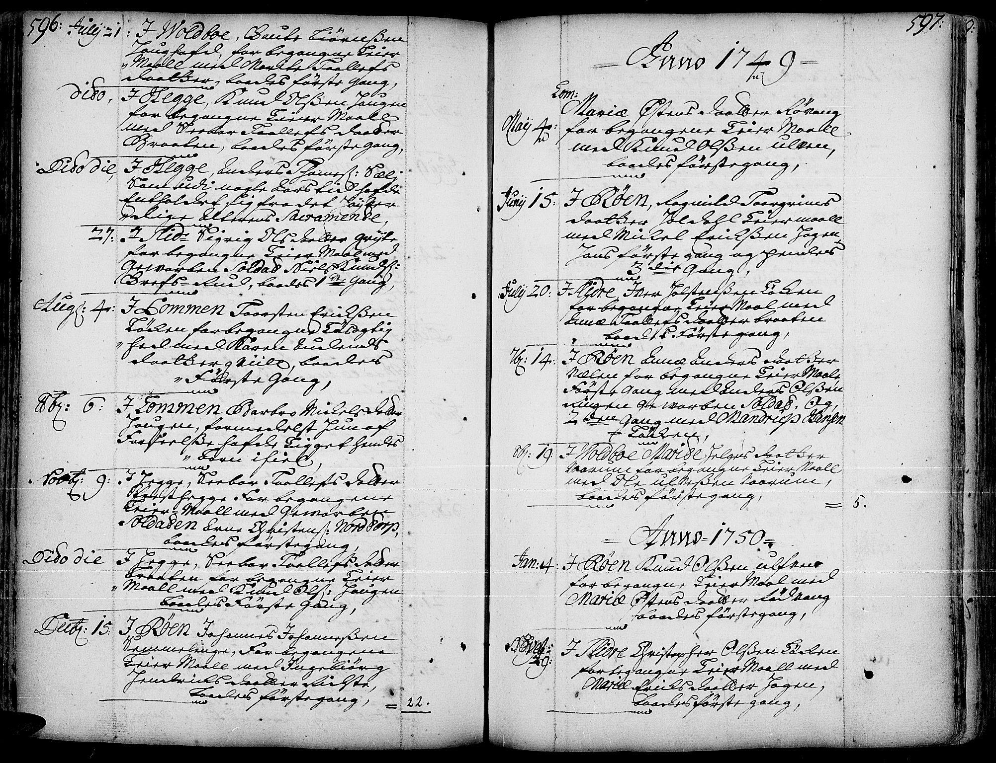 SAH, Slidre prestekontor, Ministerialbok nr. 1, 1724-1814, s. 596-597