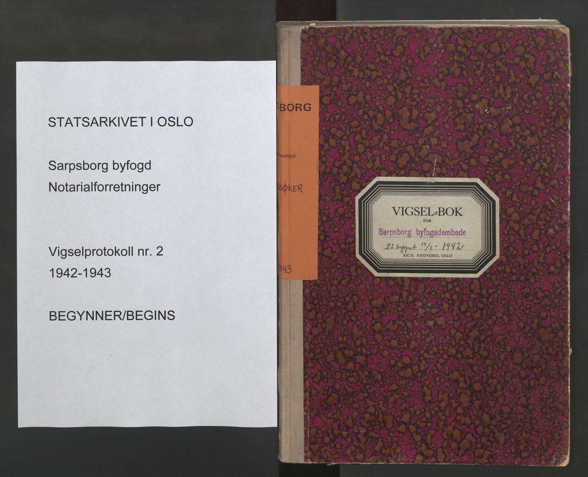 SAO, Sarpsborg byfogd, L/Lb/Lba/L0002: Vigselbok, 1942-1943, s. upaginert