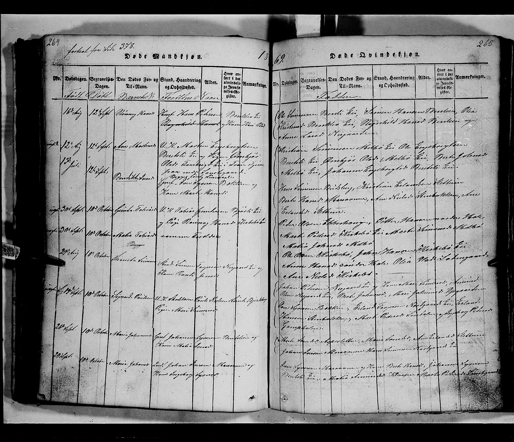 SAH, Gausdal prestekontor, Klokkerbok nr. 2, 1818-1874, s. 264-265