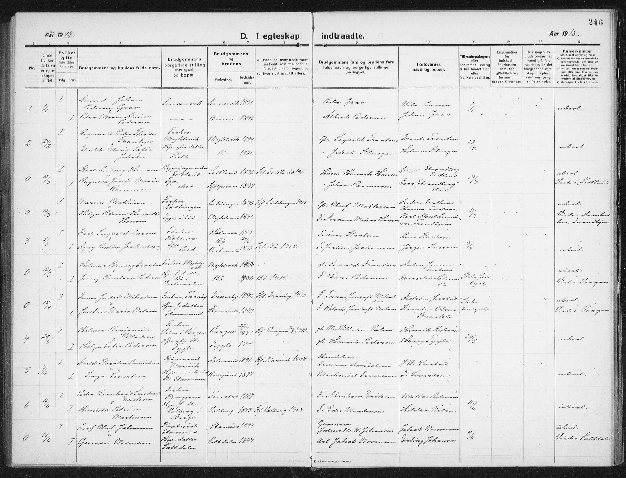 SAT, Ministerialprotokoller, klokkerbøker og fødselsregistre - Nordland, 882/L1183: Klokkerbok nr. 882C01, 1911-1938, s. 246