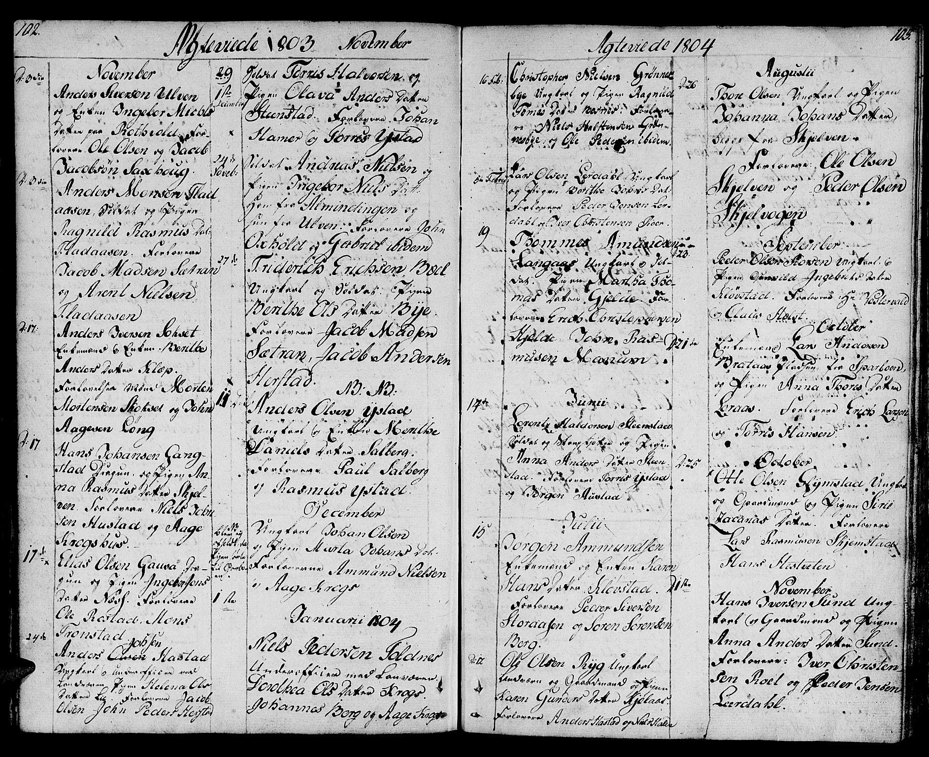 SAT, Ministerialprotokoller, klokkerbøker og fødselsregistre - Nord-Trøndelag, 730/L0274: Ministerialbok nr. 730A03, 1802-1816, s. 102-103