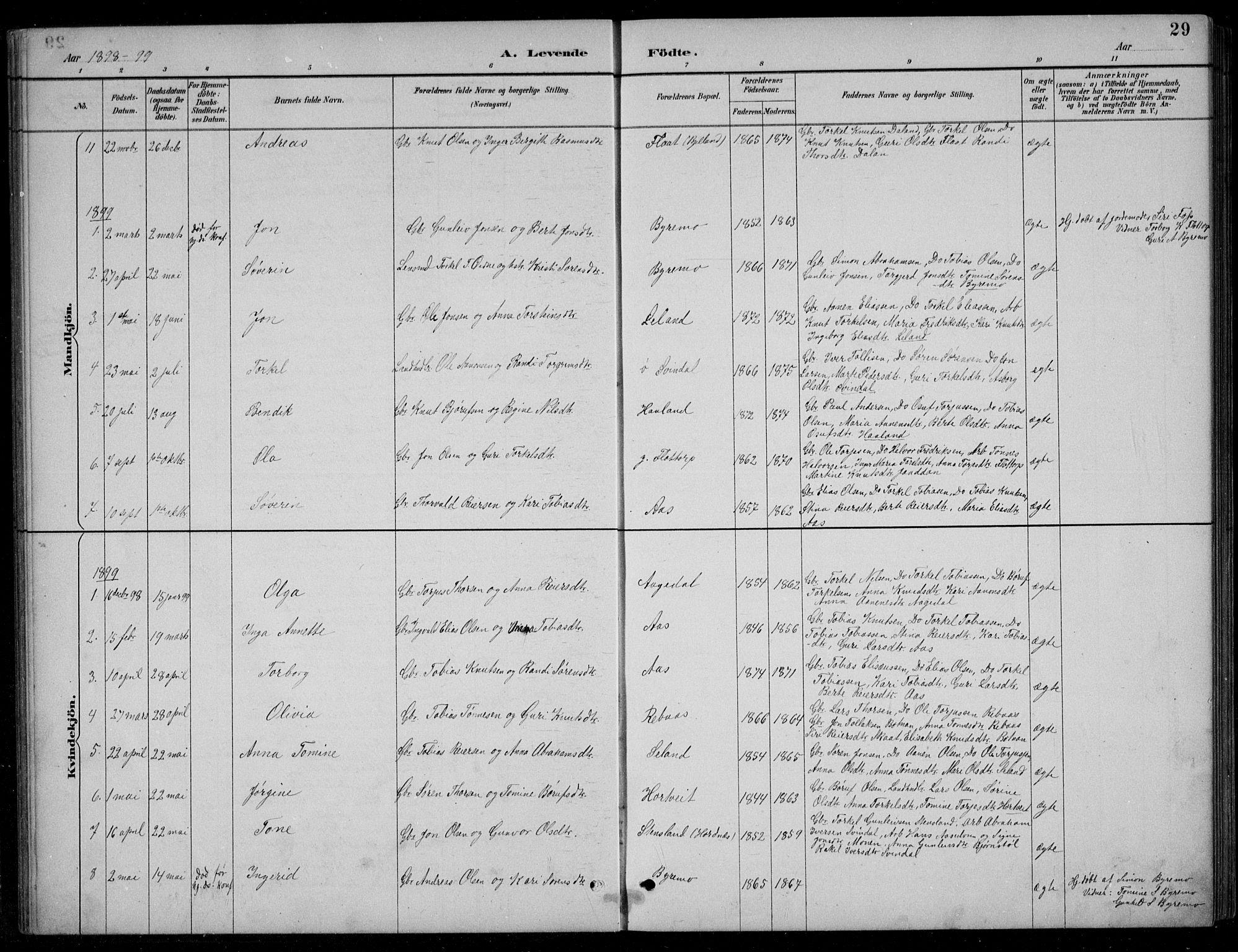 SAK, Bjelland sokneprestkontor, F/Fb/Fbc/L0003: Klokkerbok nr. B 3, 1887-1924, s. 29