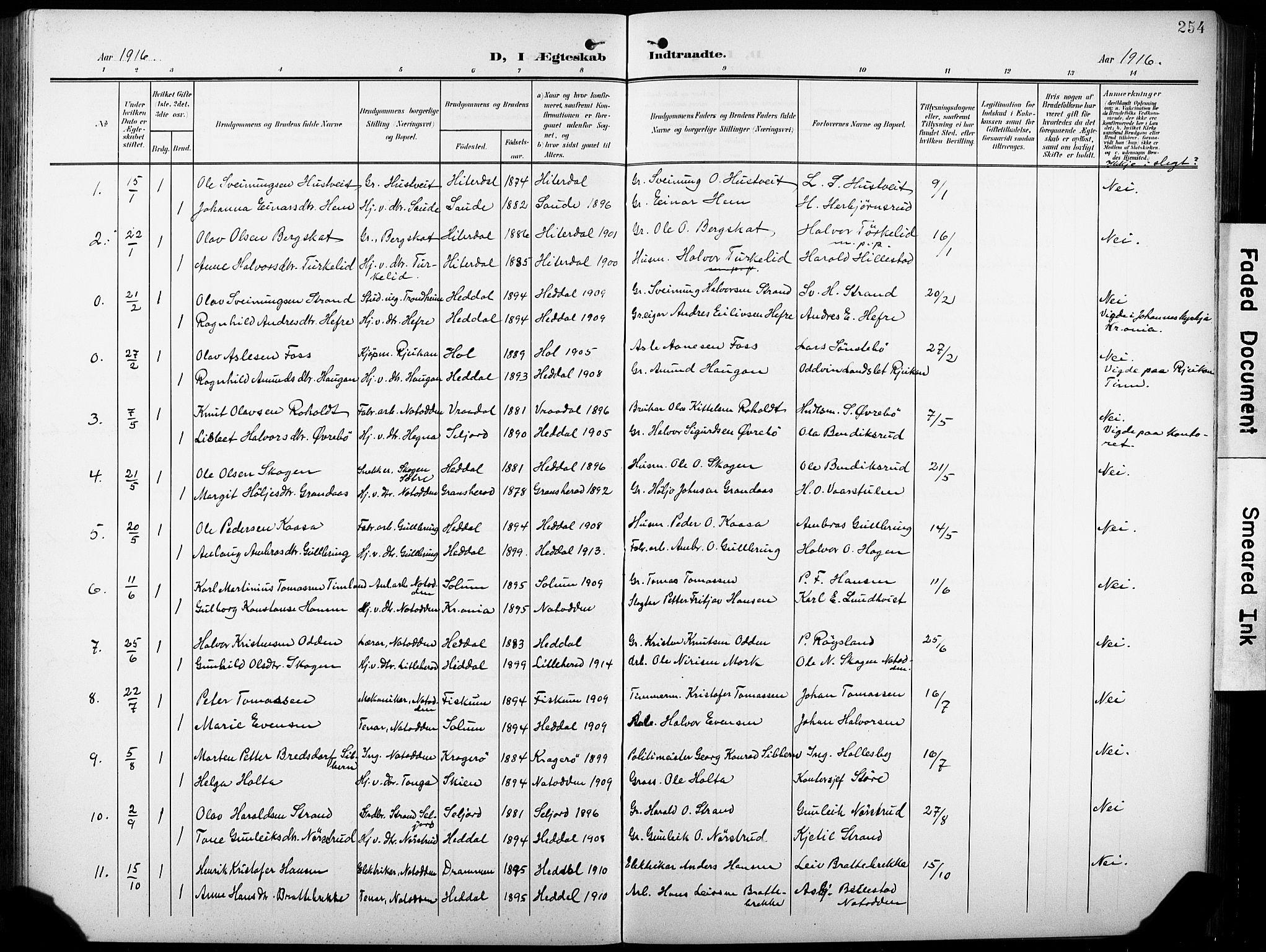 SAKO, Heddal kirkebøker, G/Ga/L0003: Klokkerbok nr. I 3, 1908-1932, s. 254