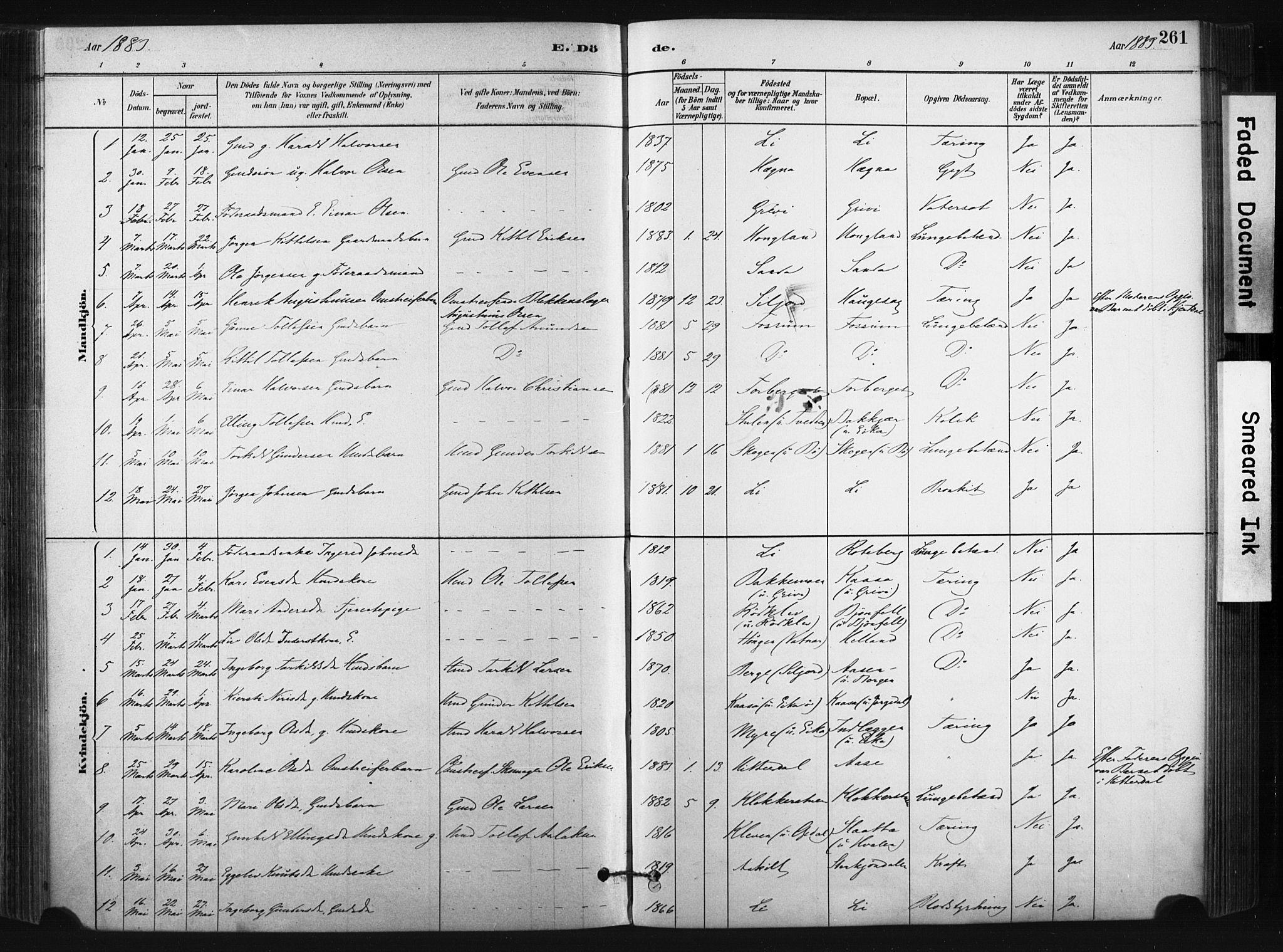 SAKO, Bø kirkebøker, F/Fa/L0010: Ministerialbok nr. 10, 1880-1892, s. 261