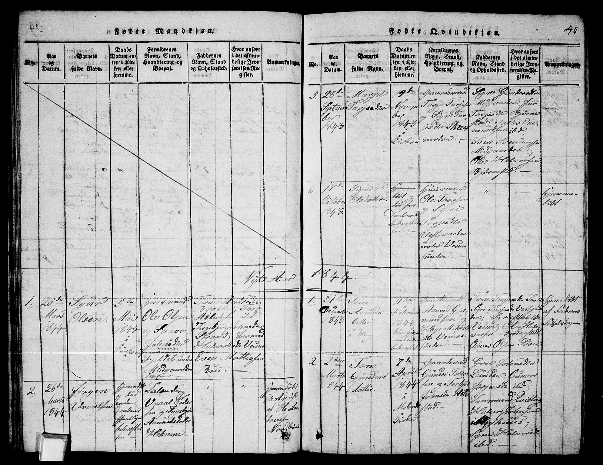 SAKO, Fyresdal kirkebøker, G/Ga/L0003: Klokkerbok nr. I 3, 1815-1863, s. 40