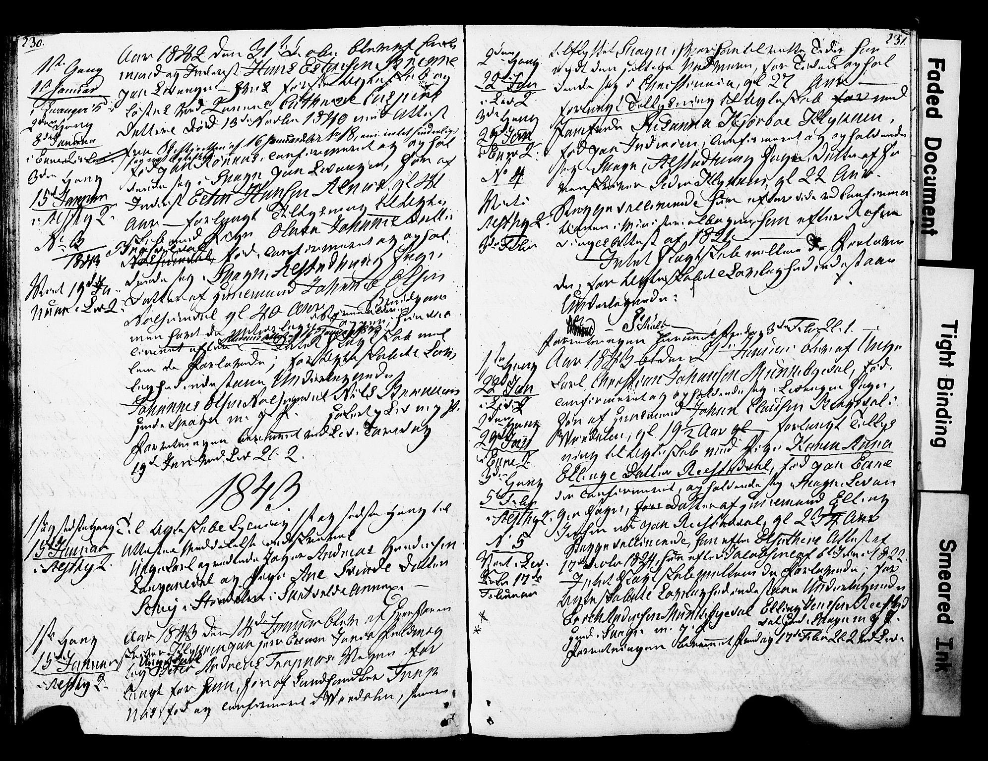 SAT, Ministerialprotokoller, klokkerbøker og fødselsregistre - Nord-Trøndelag, 717/L0160: Forlovererklæringer nr. 717A10, 1828-1850, s. 230-231