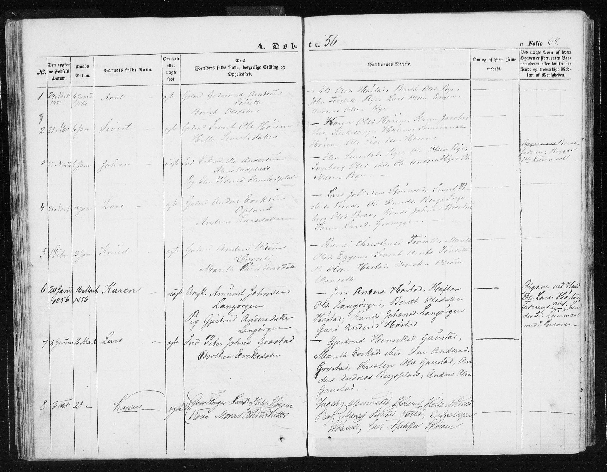 SAT, Ministerialprotokoller, klokkerbøker og fødselsregistre - Sør-Trøndelag, 612/L0376: Ministerialbok nr. 612A08, 1846-1859, s. 64