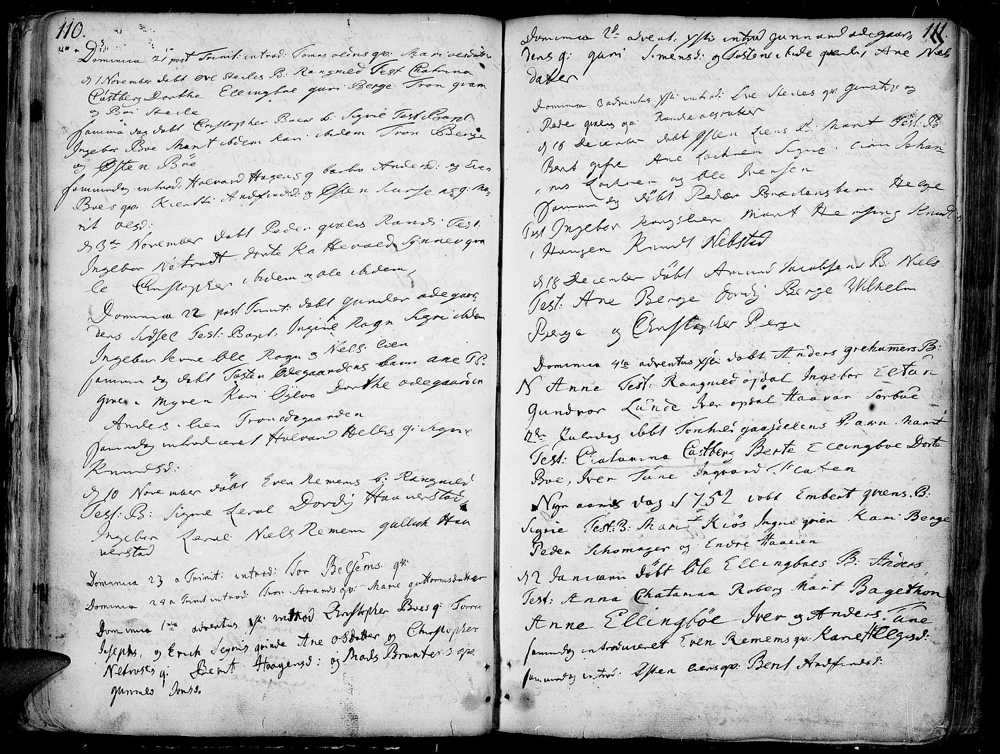 SAH, Vang prestekontor, Valdres, Ministerialbok nr. 1, 1730-1796, s. 110-111