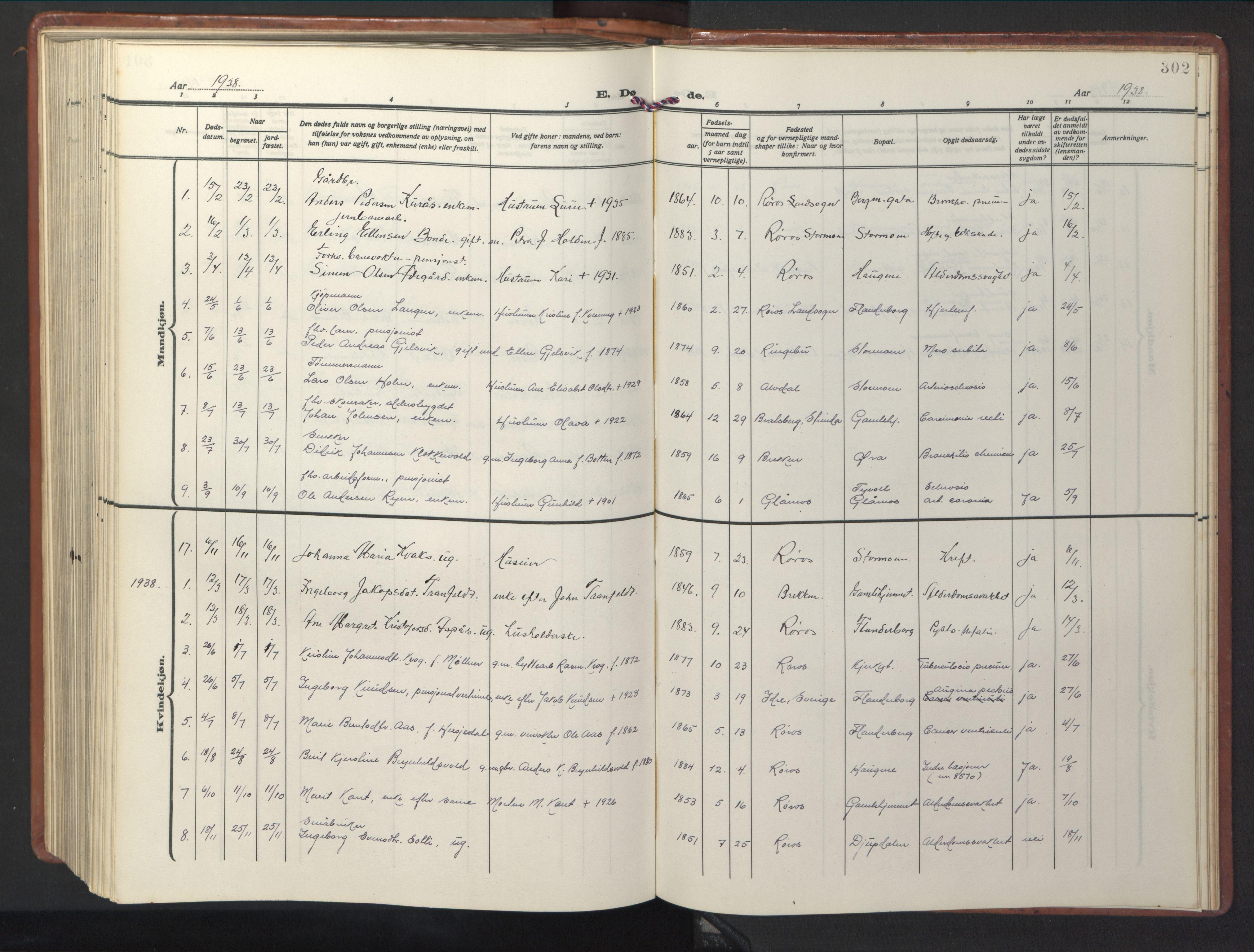 SAT, Ministerialprotokoller, klokkerbøker og fødselsregistre - Sør-Trøndelag, 681/L0943: Klokkerbok nr. 681C07, 1926-1954, s. 302