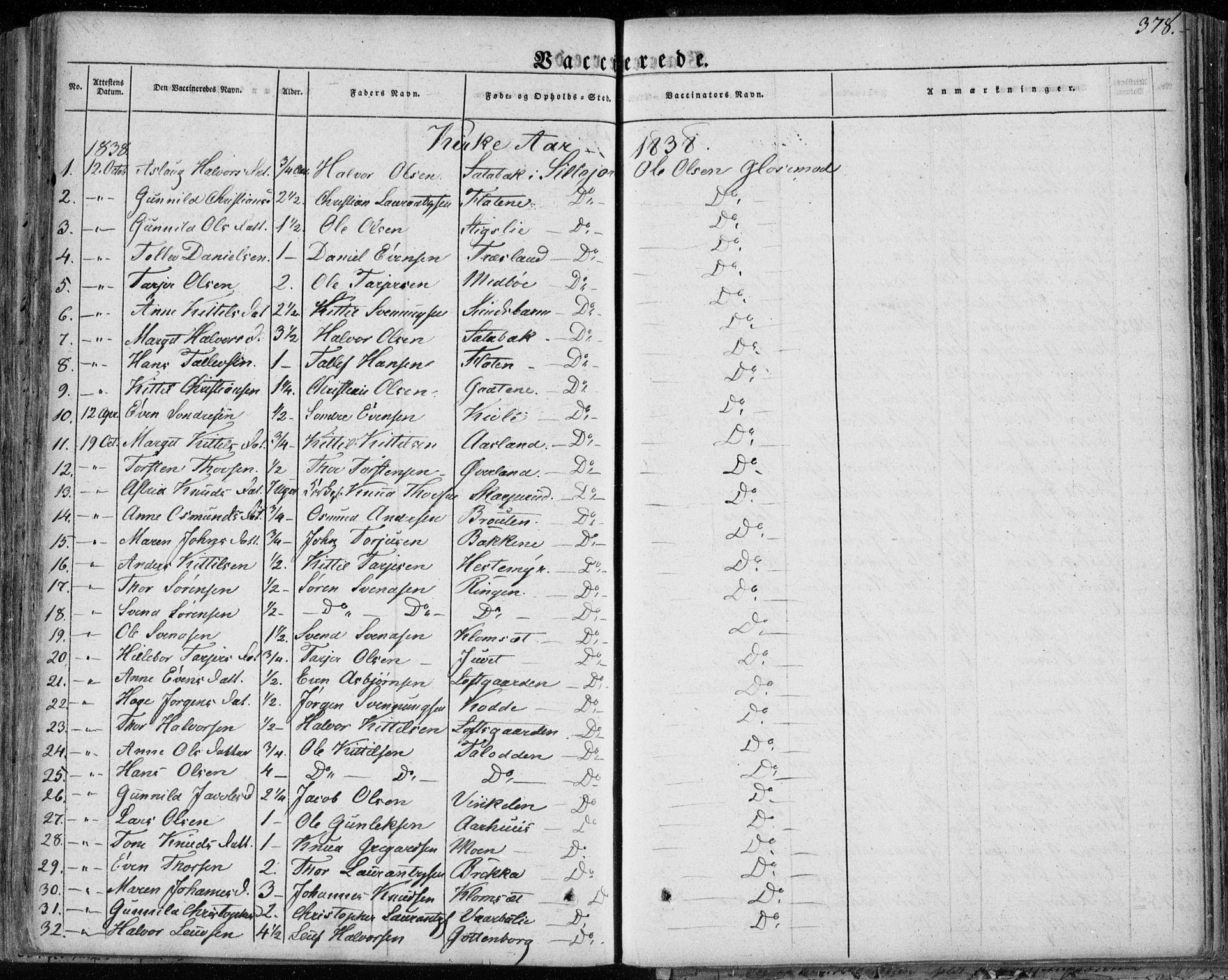 SAKO, Seljord kirkebøker, F/Fa/L0011: Ministerialbok nr. I 11, 1831-1849, s. 378