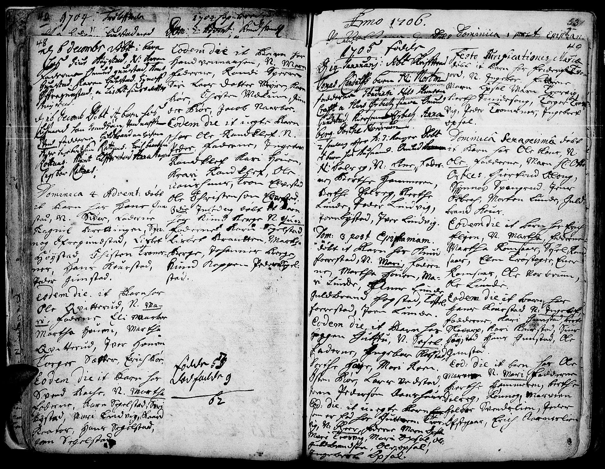 SAH, Ringebu prestekontor, Ministerialbok nr. 1, 1696-1733, s. 48-49