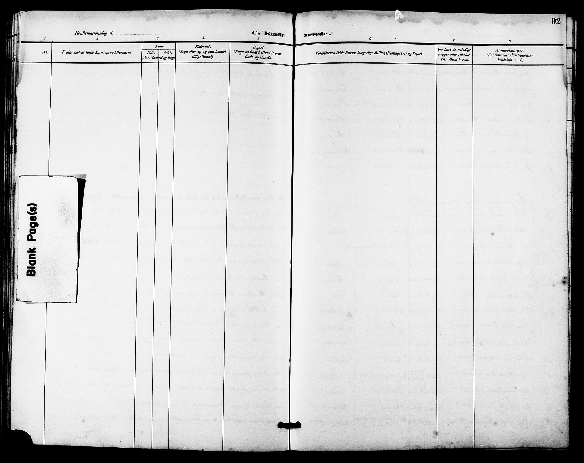 SAT, Ministerialprotokoller, klokkerbøker og fødselsregistre - Sør-Trøndelag, 641/L0598: Klokkerbok nr. 641C02, 1893-1910, s. 92
