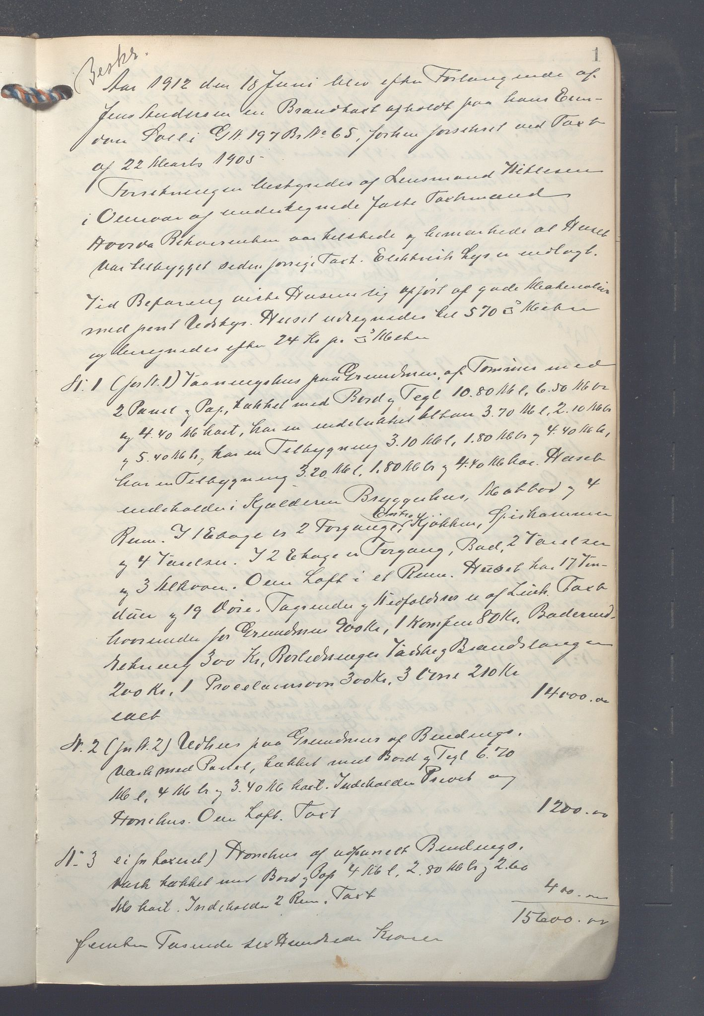 OBA, Lensmennene i Aker, F/Fc/L0013: Branntakstprotokoll, 1912-1916, s. 1a