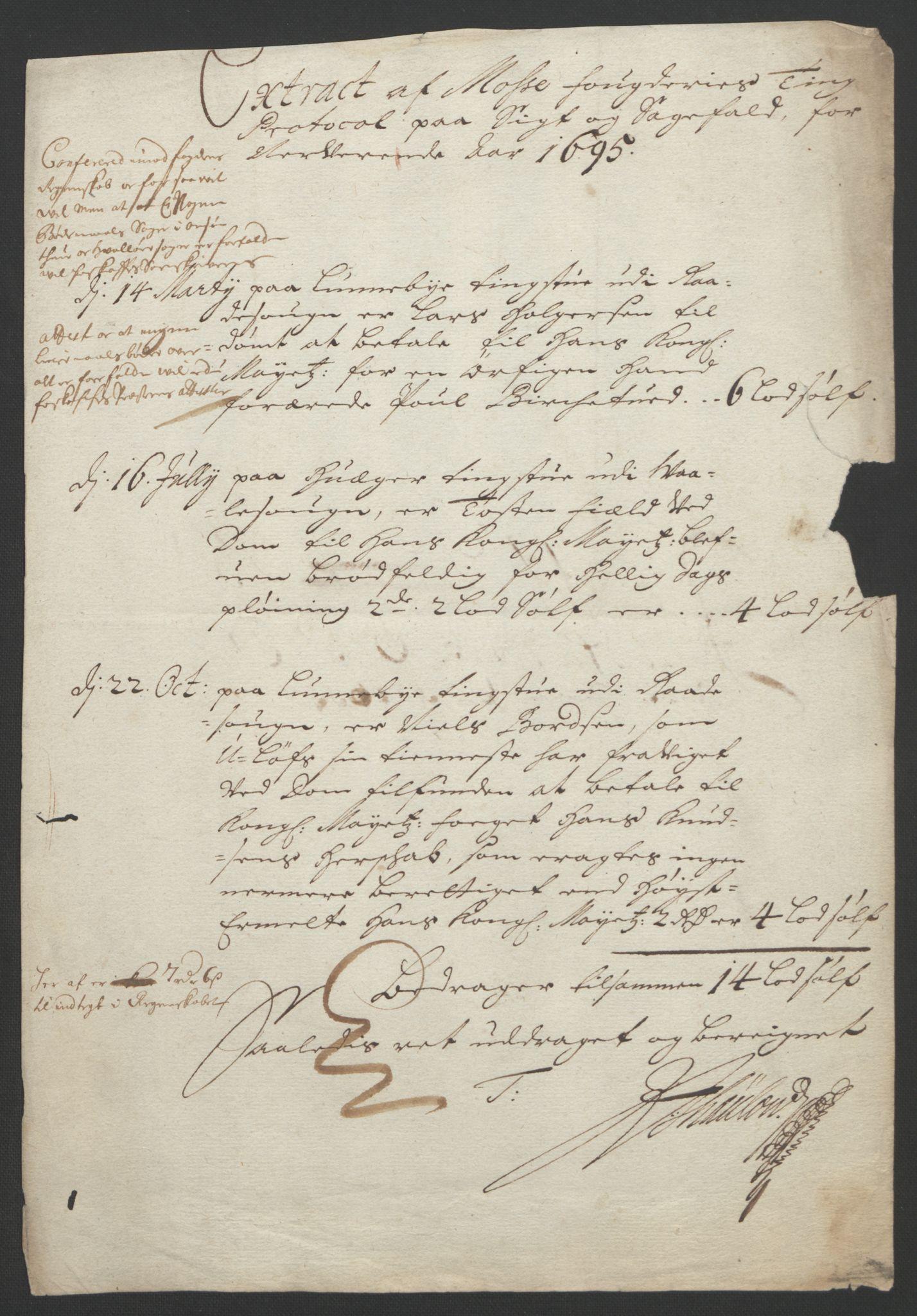 RA, Rentekammeret inntil 1814, Reviderte regnskaper, Fogderegnskap, R04/L0122: Fogderegnskap Moss, Onsøy, Tune, Veme og Åbygge, 1695, s. 267