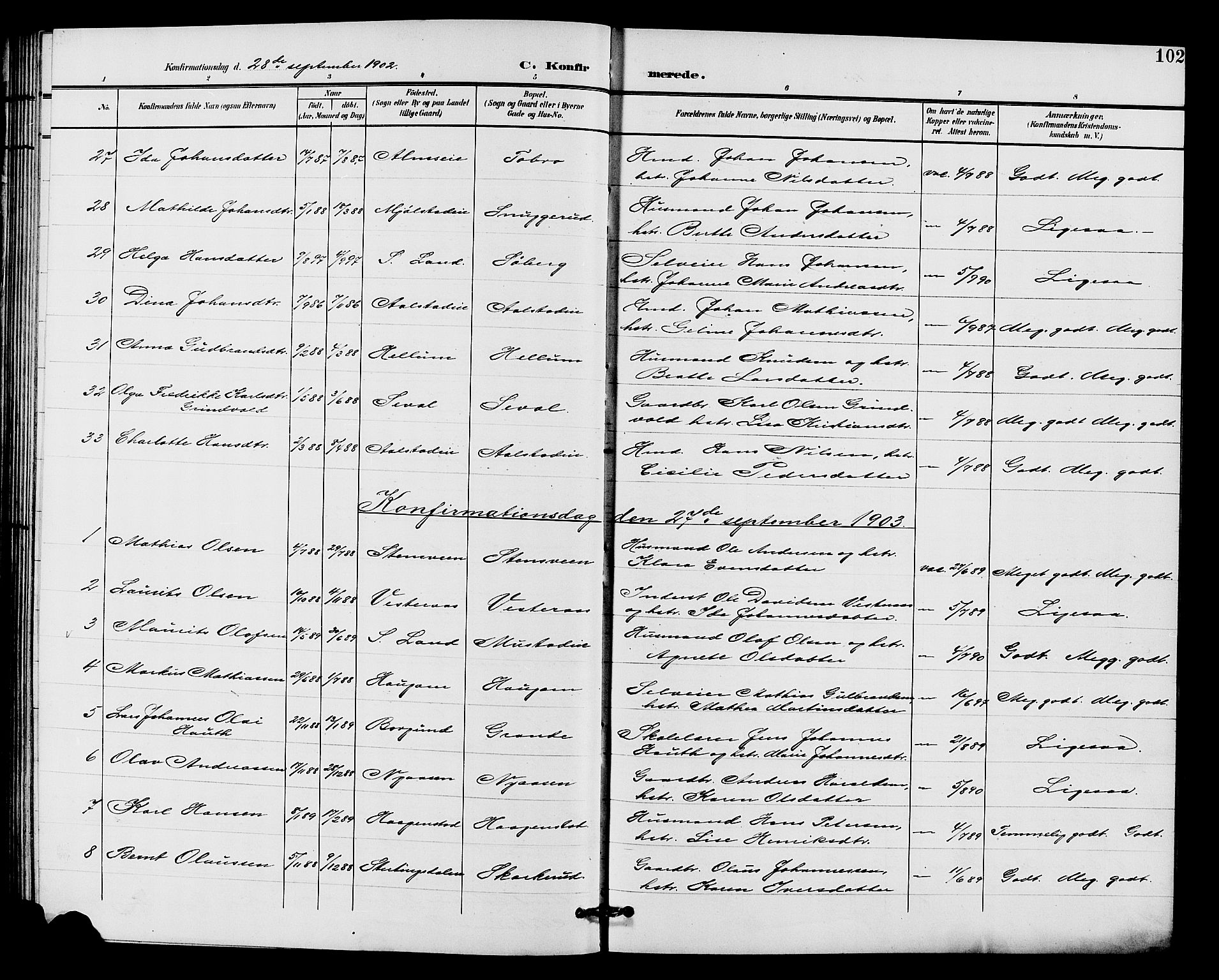 SAH, Vardal prestekontor, H/Ha/Hab/L0011: Klokkerbok nr. 11, 1899-1913, s. 102