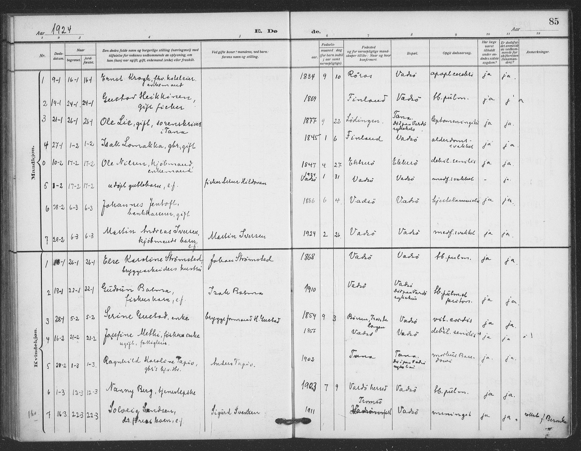 SATØ, Vadsø sokneprestkontor, H/Ha/L0008kirke: Ministerialbok nr. 8, 1912-1930, s. 85