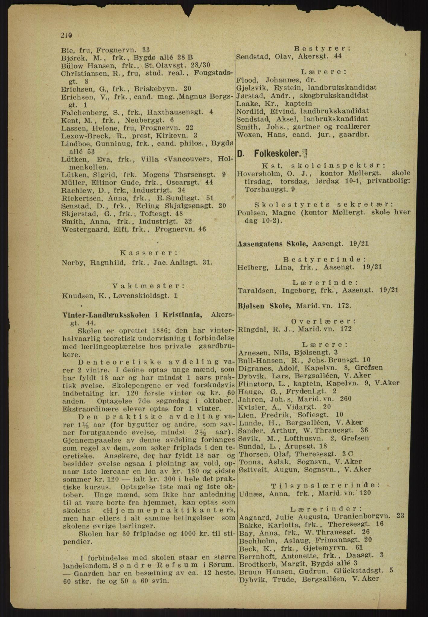 RA, Kristiania adressebok (publikasjon)*, 1918, s. 210
