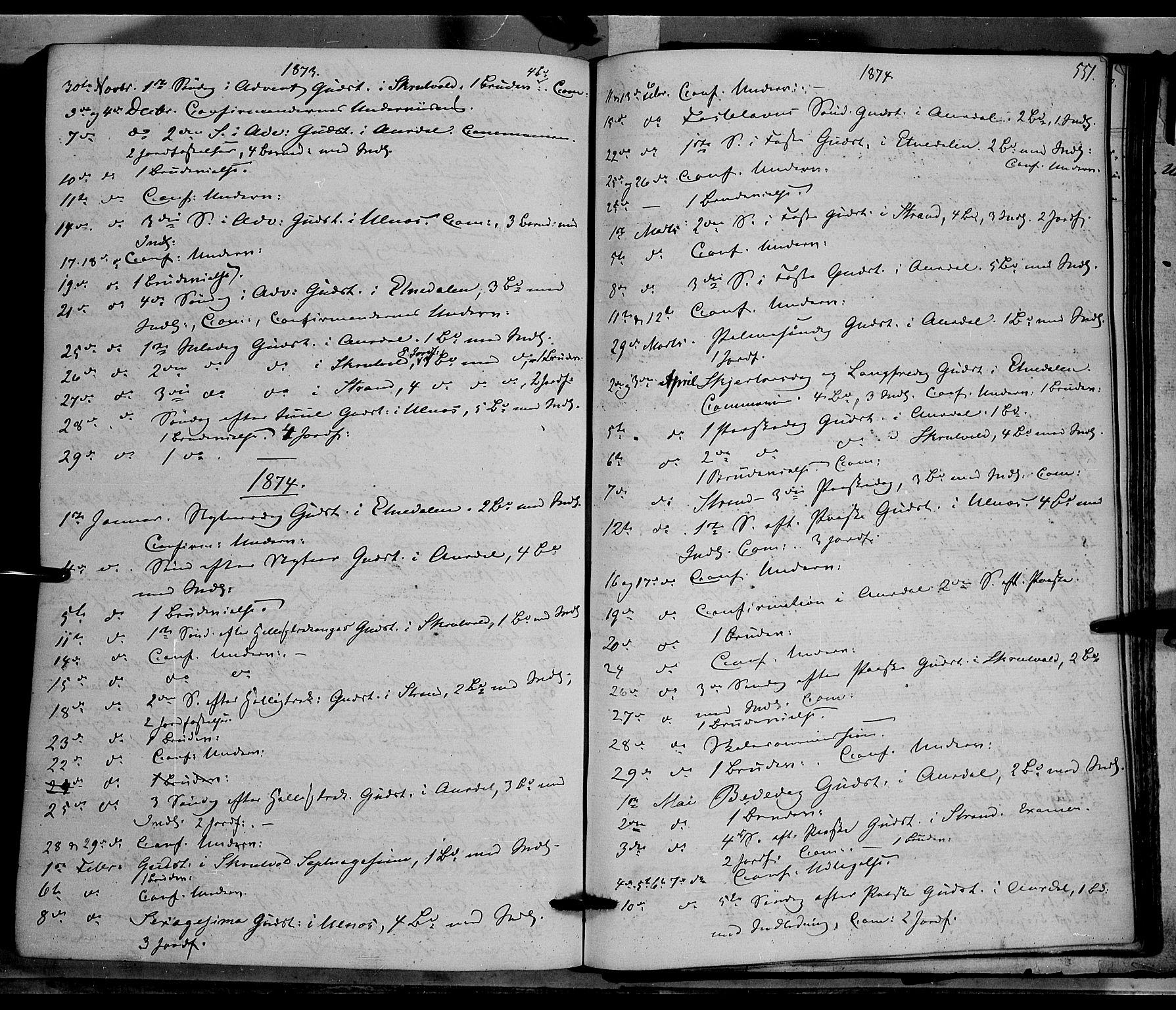 SAH, Nord-Aurdal prestekontor, Ministerialbok nr. 8, 1863-1875, s. 551